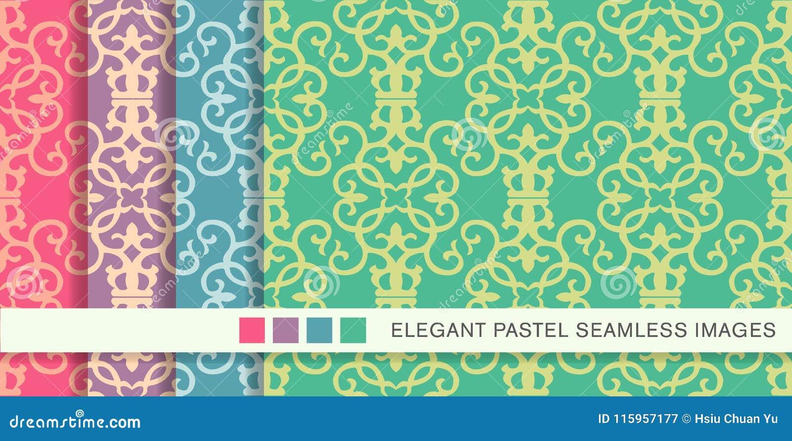 Sömlös pastellfärgad ram V för kors för kurva för virvel för bakgrundsuppsättningspiral