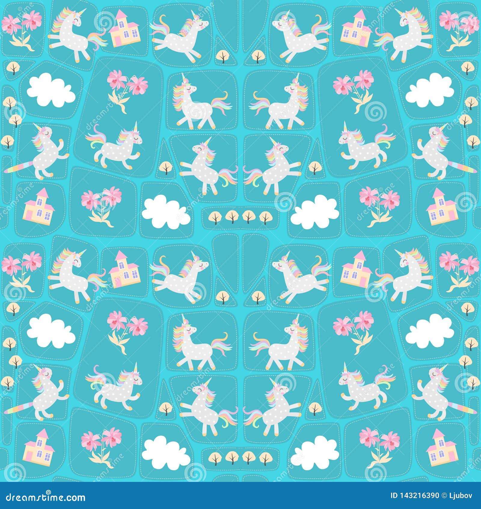 Sömlös patchworkmodell med roliga enhörningar och caticorns, vita moln, försiktiga rosa blommor, höstträd och sagaslott