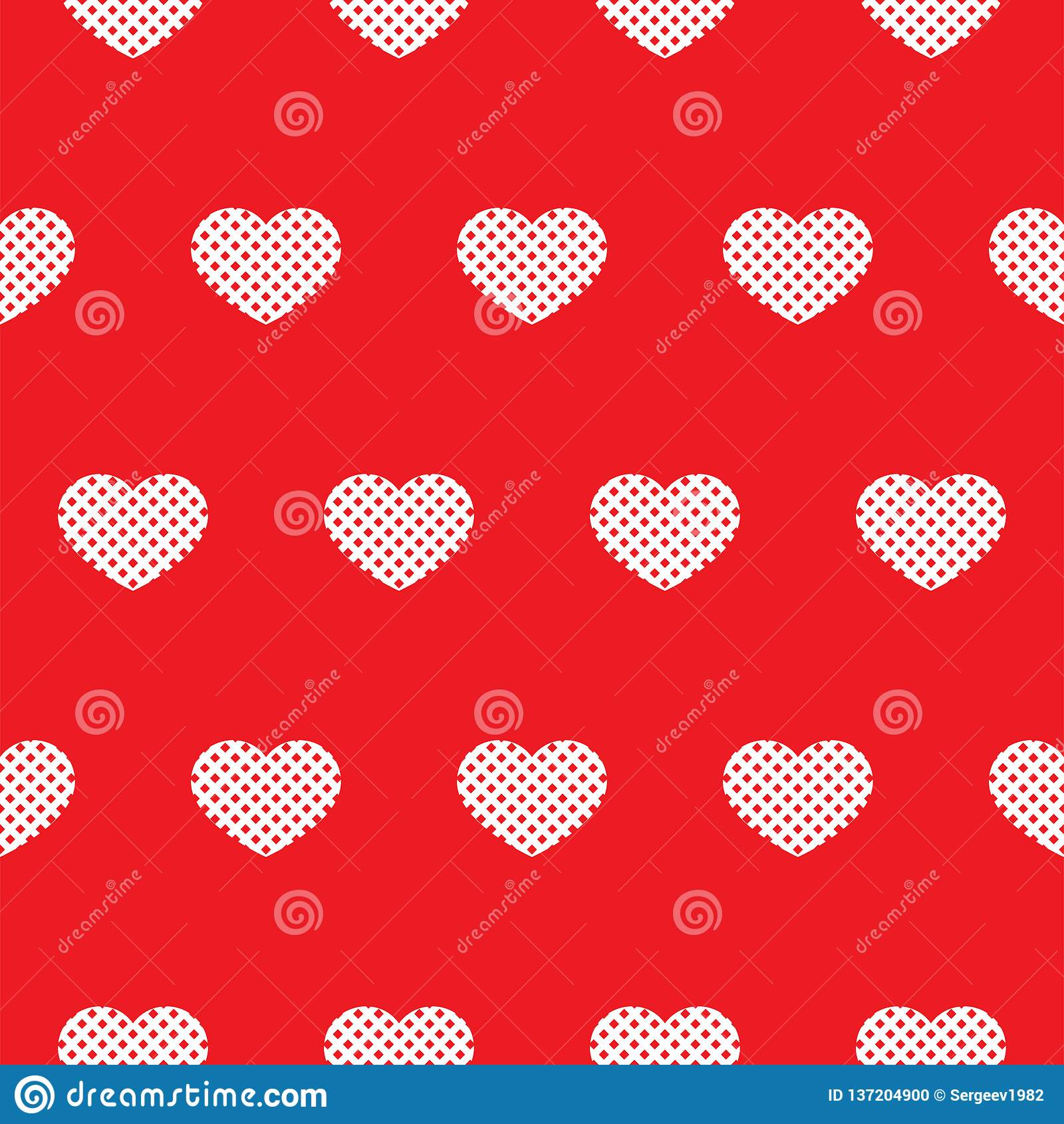 Sömlös röd modell med hjärtor vektor