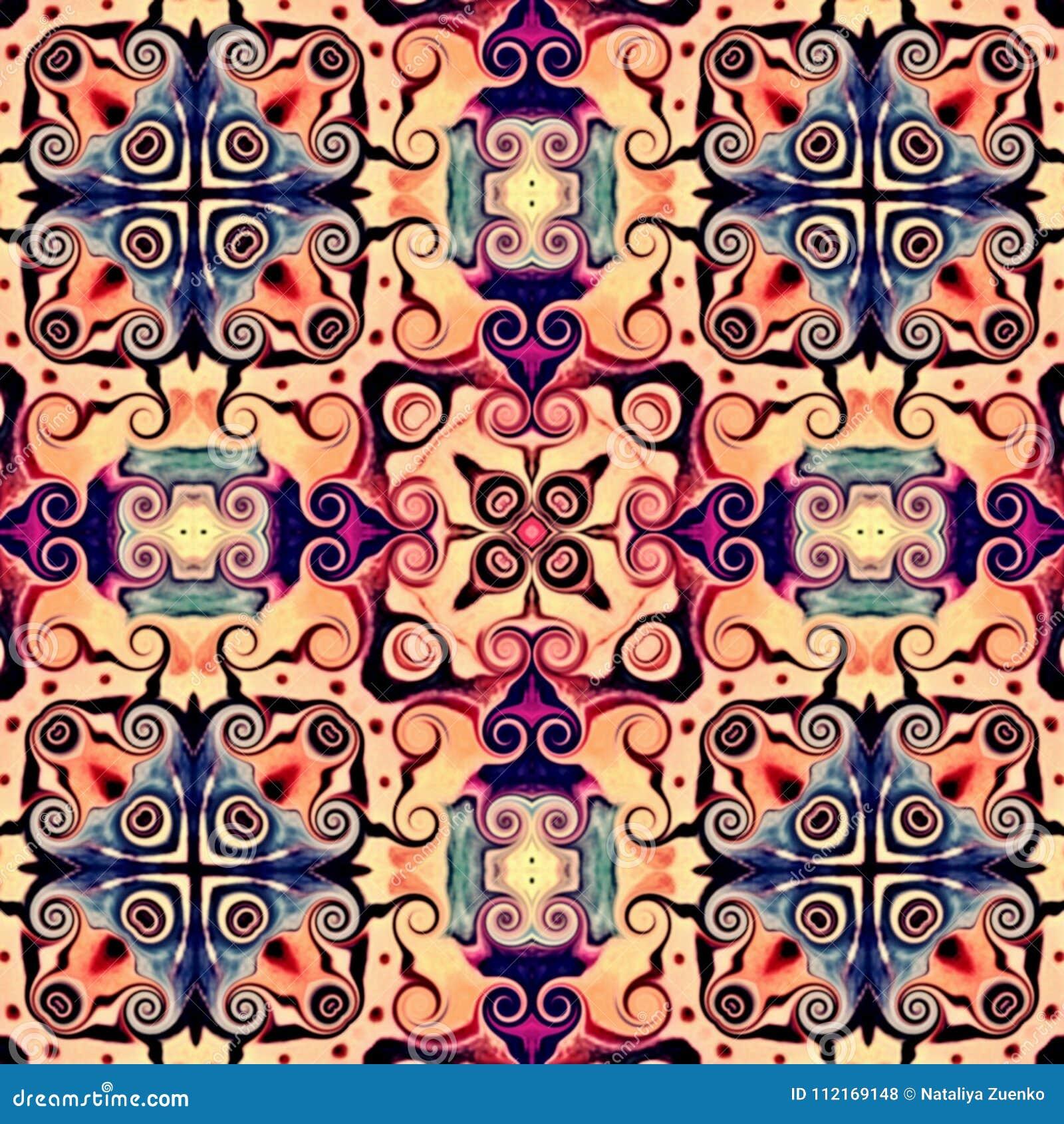 Sömlös rastermodell i modellen för mosaik för orientalisk stilblomma den psykedeliska för tapeten, bakgrunder, dekor för gobeläng