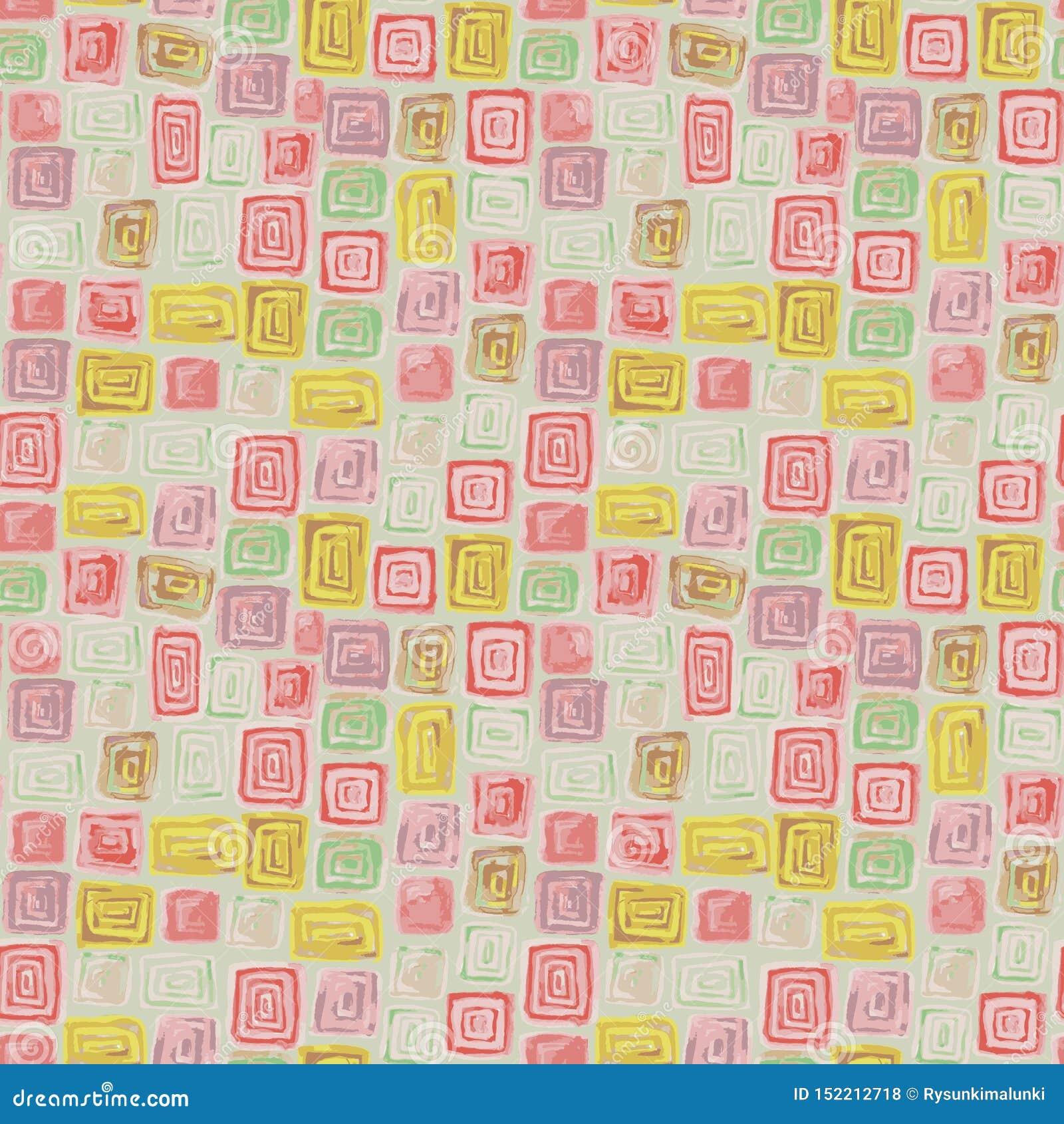 Sömlös rastermodell med mosaiken som göras med färgrika fyrkant- och rektangeltegelplattor