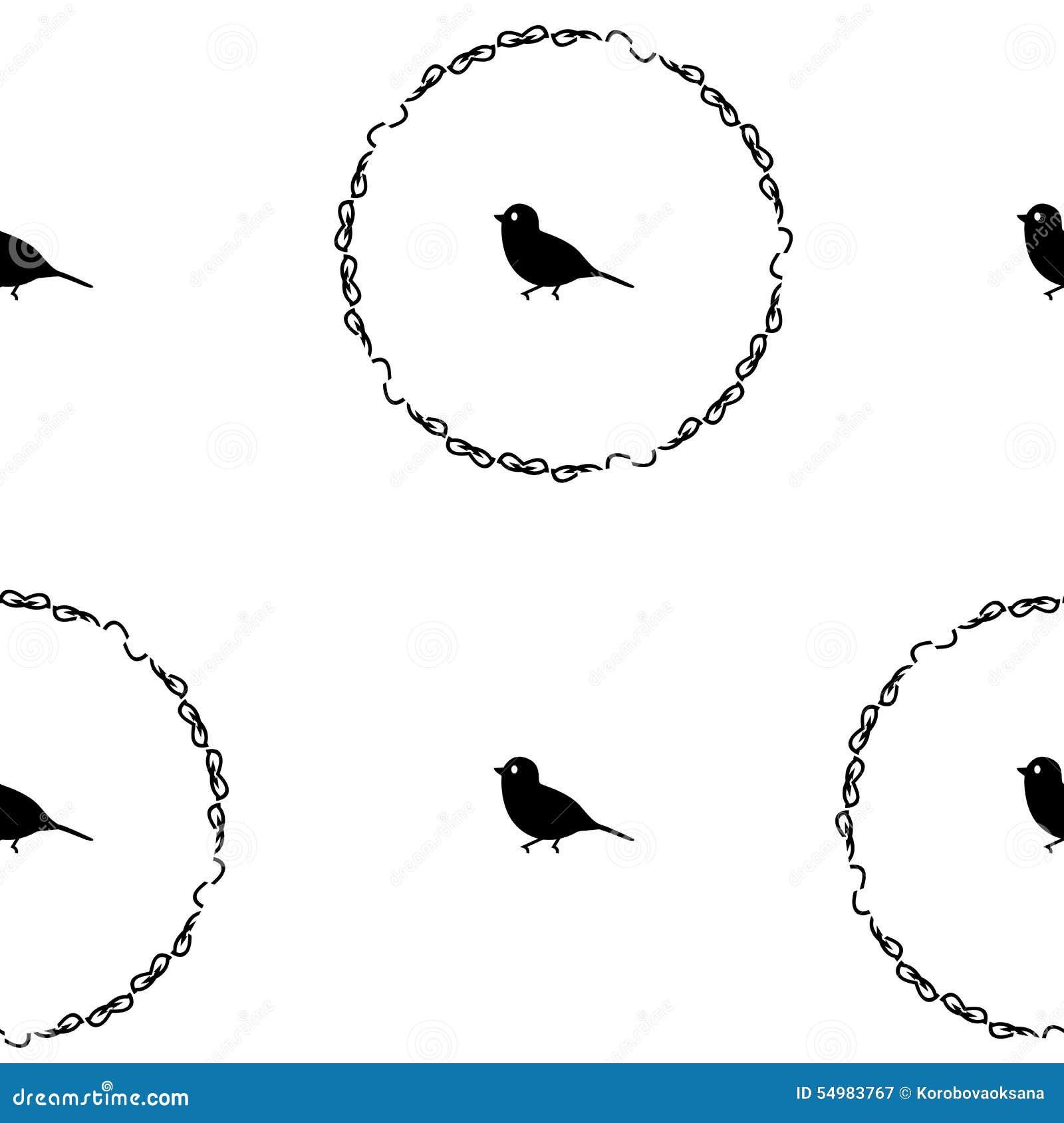 Sömlös retro modell för illustration, fåglar