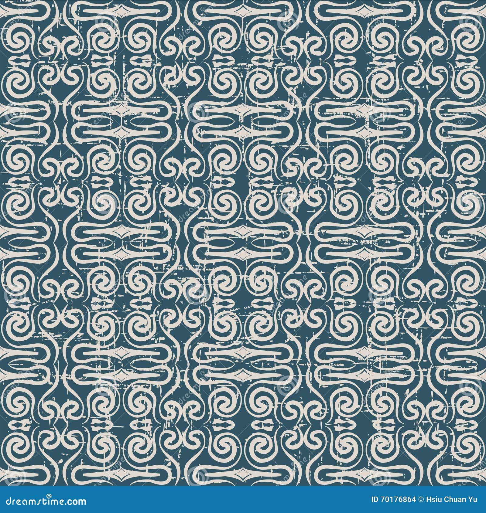 Sömlös sliten ut antik dragen spiral kalejdoskop för bakgrund 049_hand