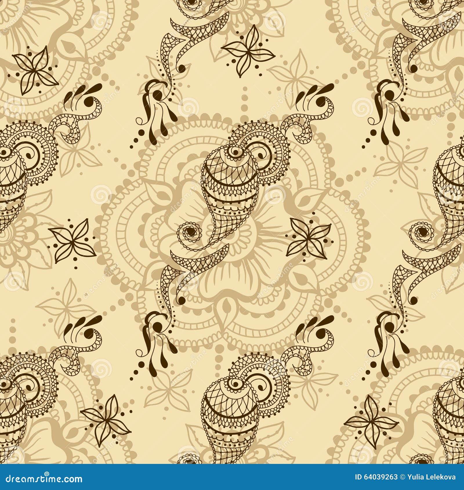 Sömlös textur för vektor med den blom- prydnaden i indisk stil Mehndi dekorativa paisley