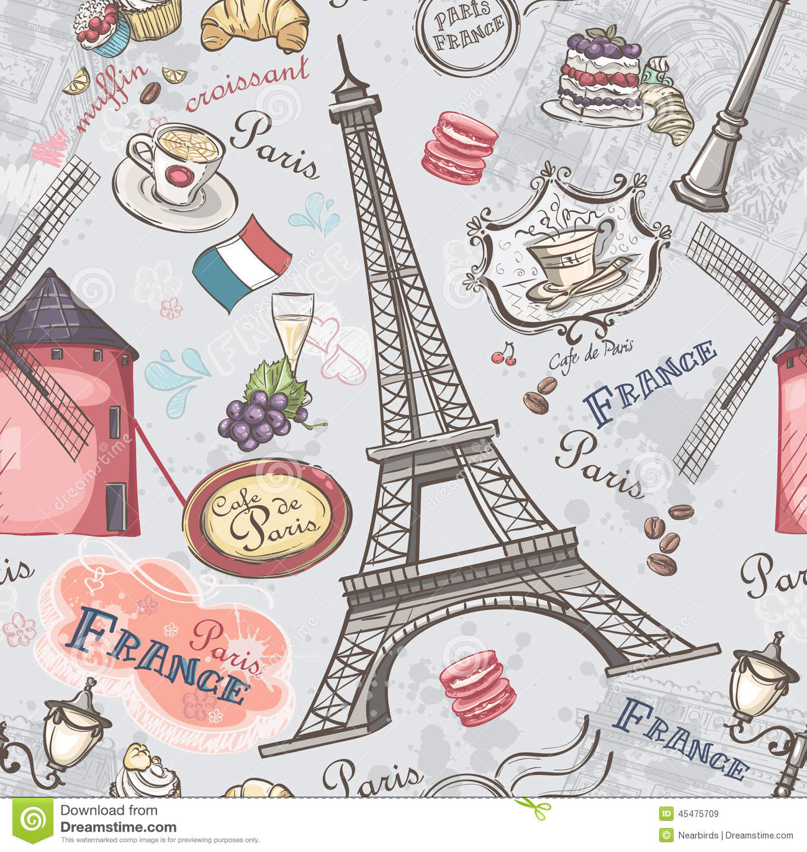 Sömlös textur med bilden av sikten av Paris