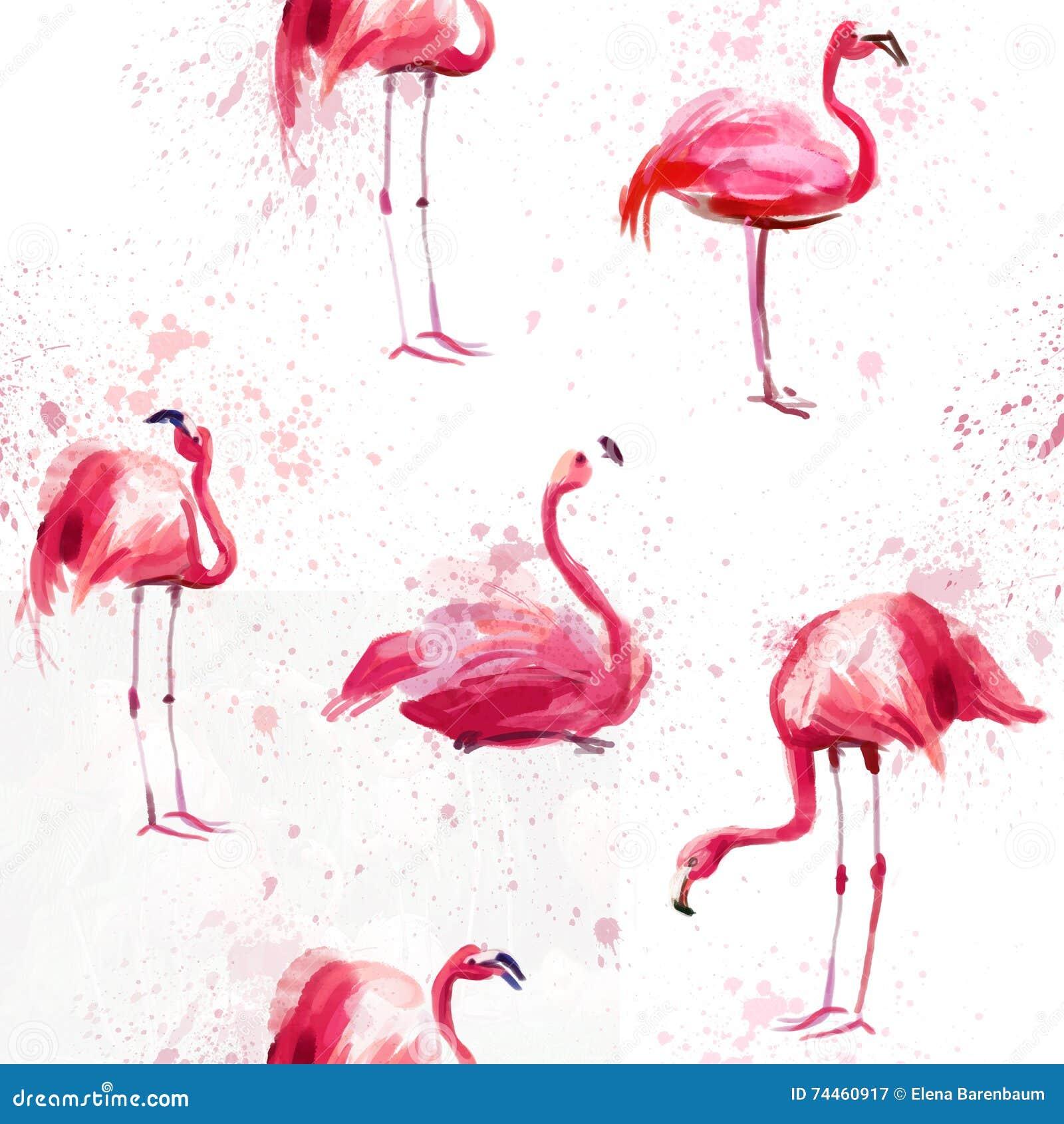 Sömlös vattenfärgmodell med flamingo