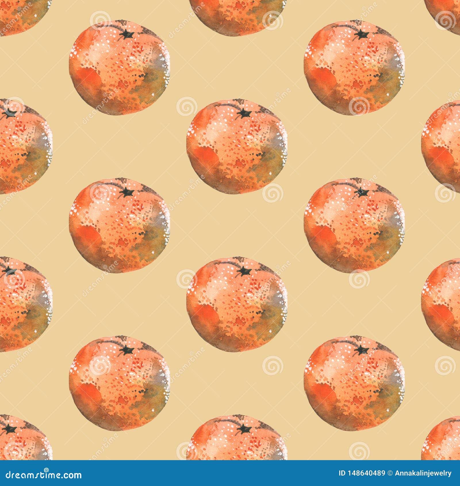 Sömlös vattenfärgmodell med tangerin på beige bakgrund