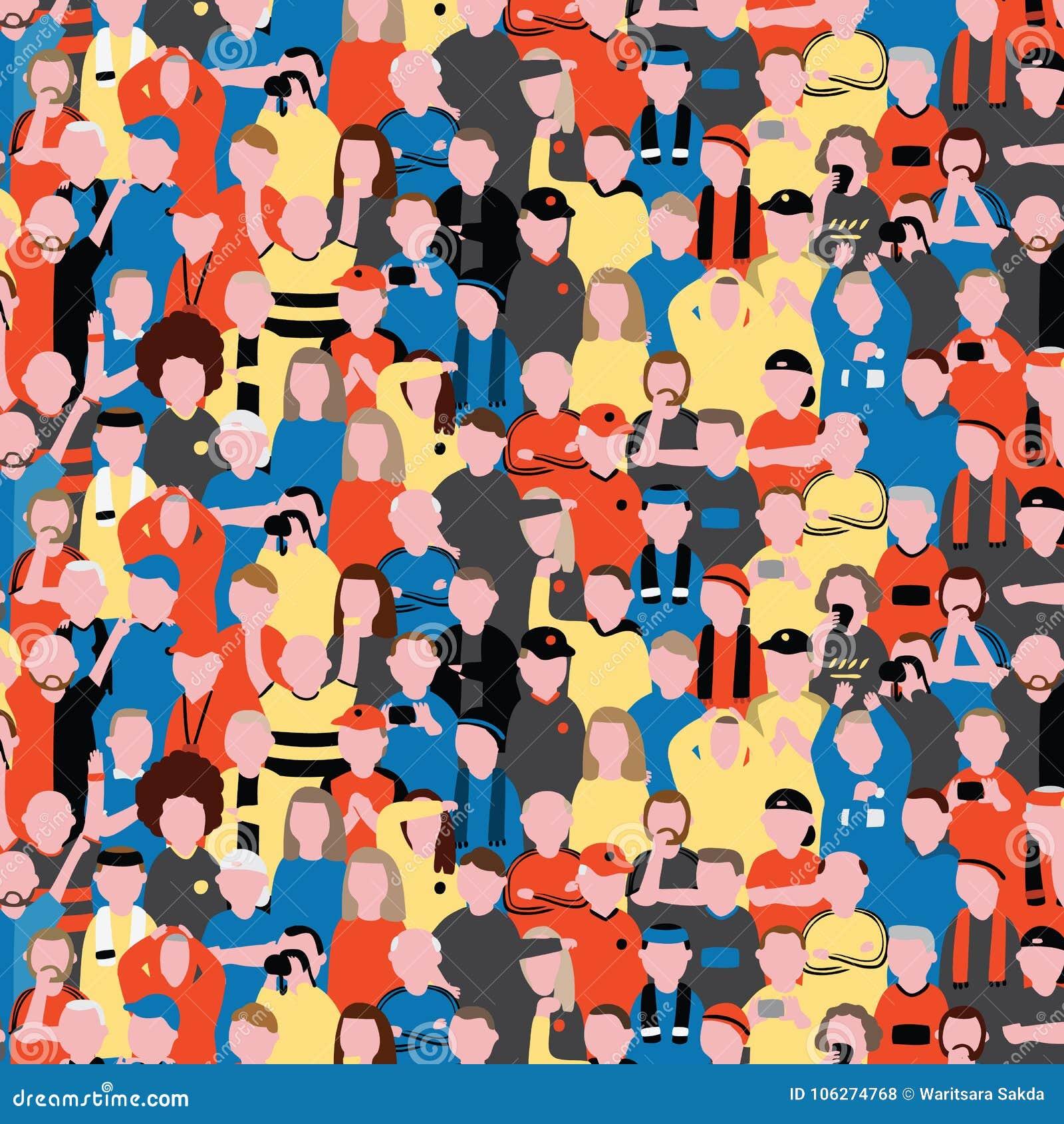 Sömlös vektormodell av folkmassafolk på fotbollsarena Sportfans som hurrar på deras lag, mönstrar illustrationen i tecknad filmst