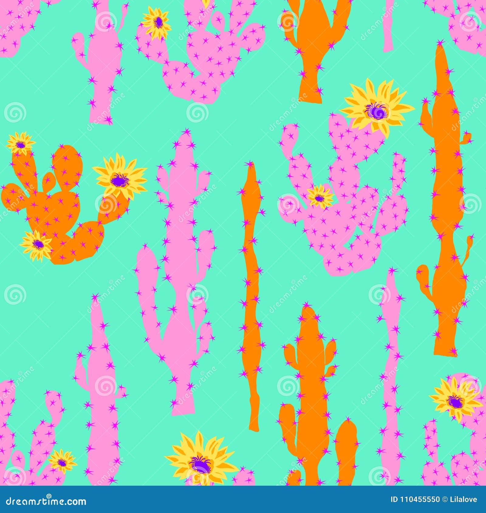 Sömlös vektormodell med den neonkaktuns och blomman