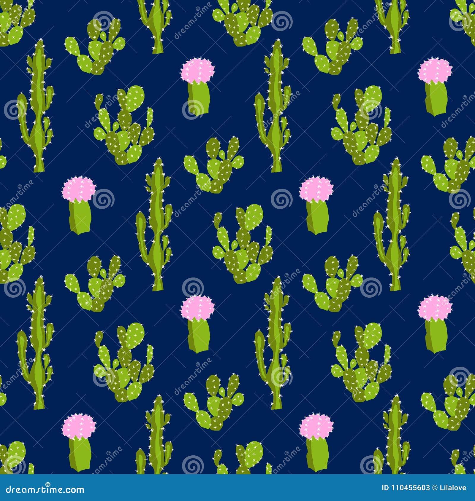 Sömlös vektormodell med kaktuns och blomman