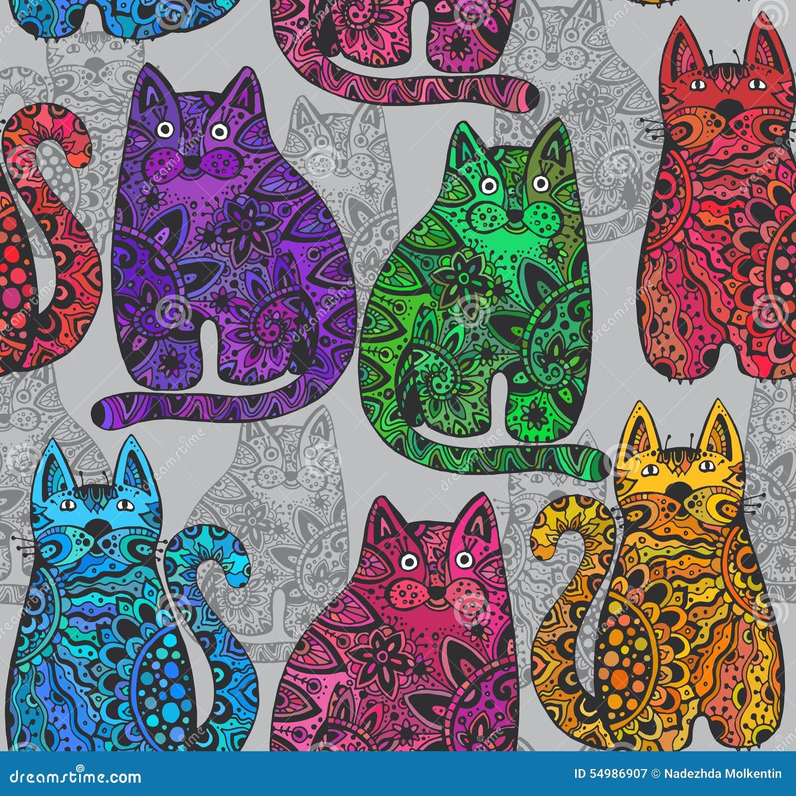 Sömlös vektormodell med roliga dekorativa katter