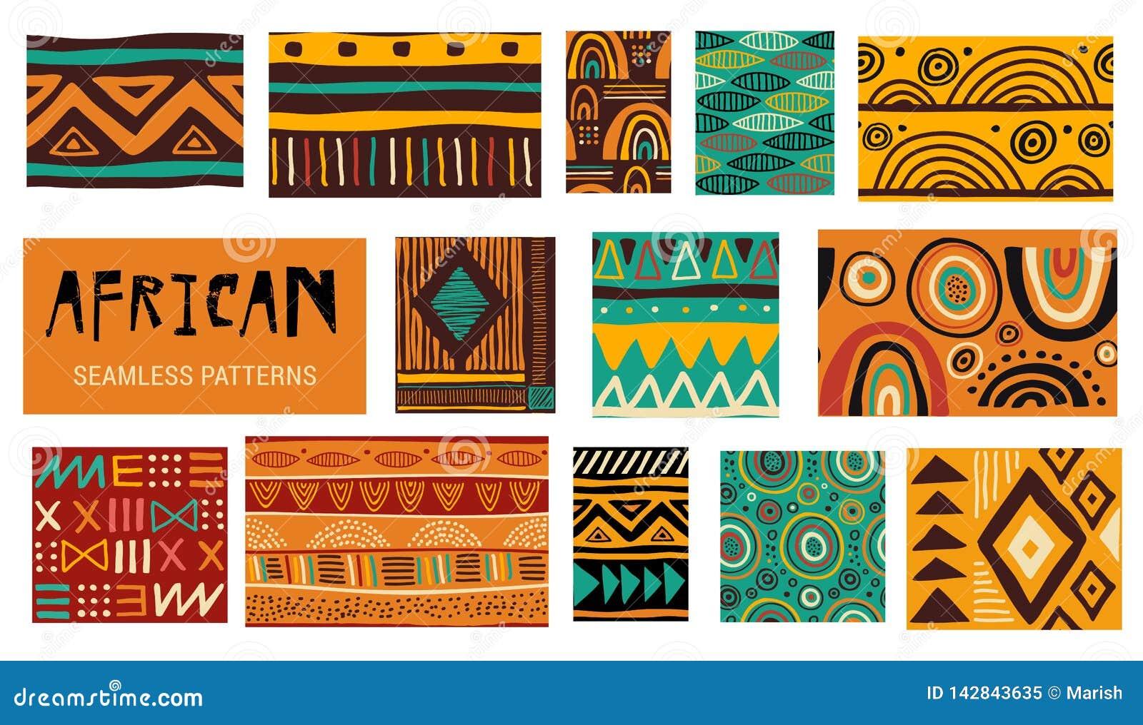 Sömlösa afrikanska modern konstmodeller Sömlös blom- bakgrund