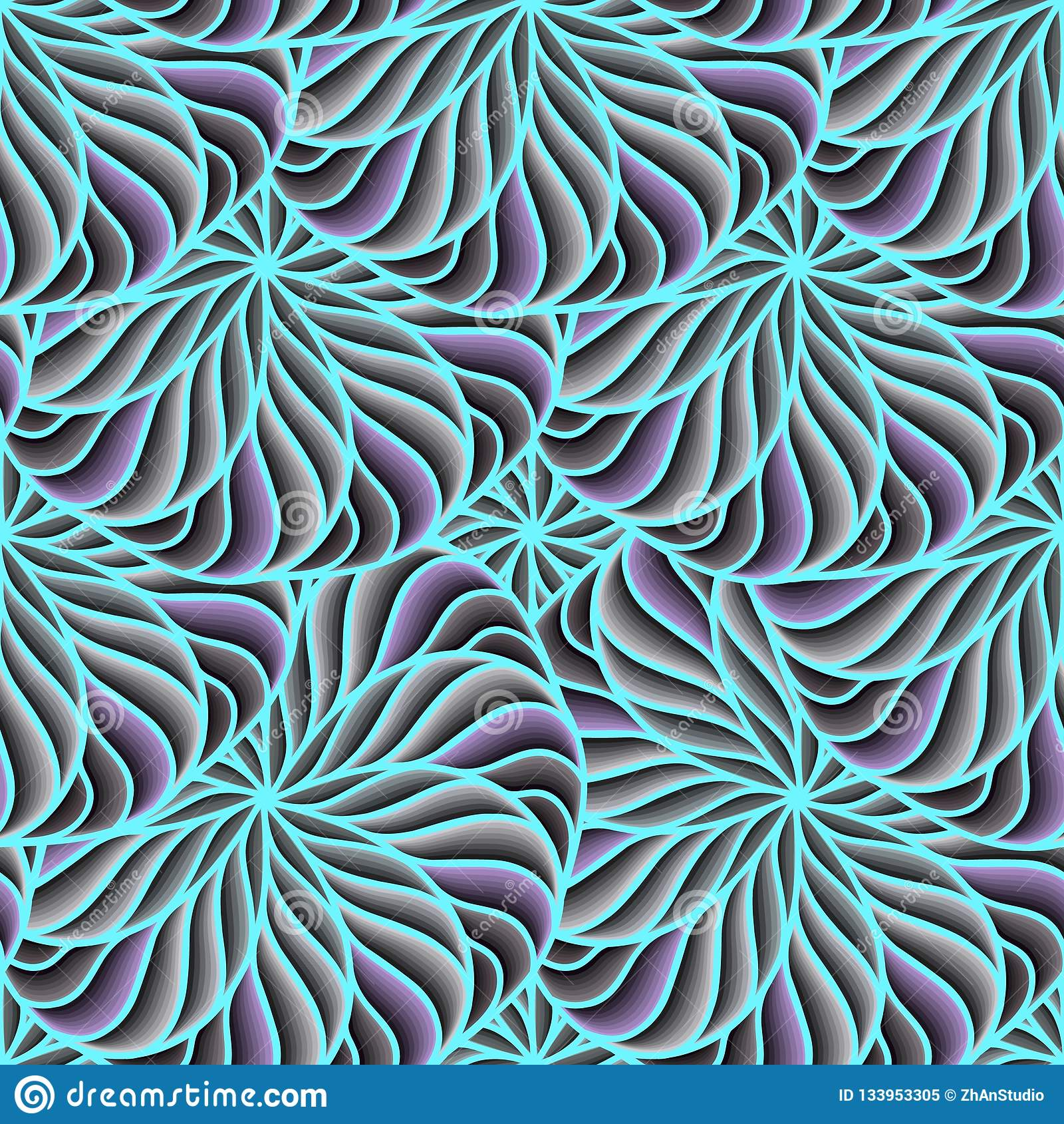 Sömlösa cirklar för bakgrundsvektorfärg Sammansättning av geometriska former ljusa trendiga färger, blått