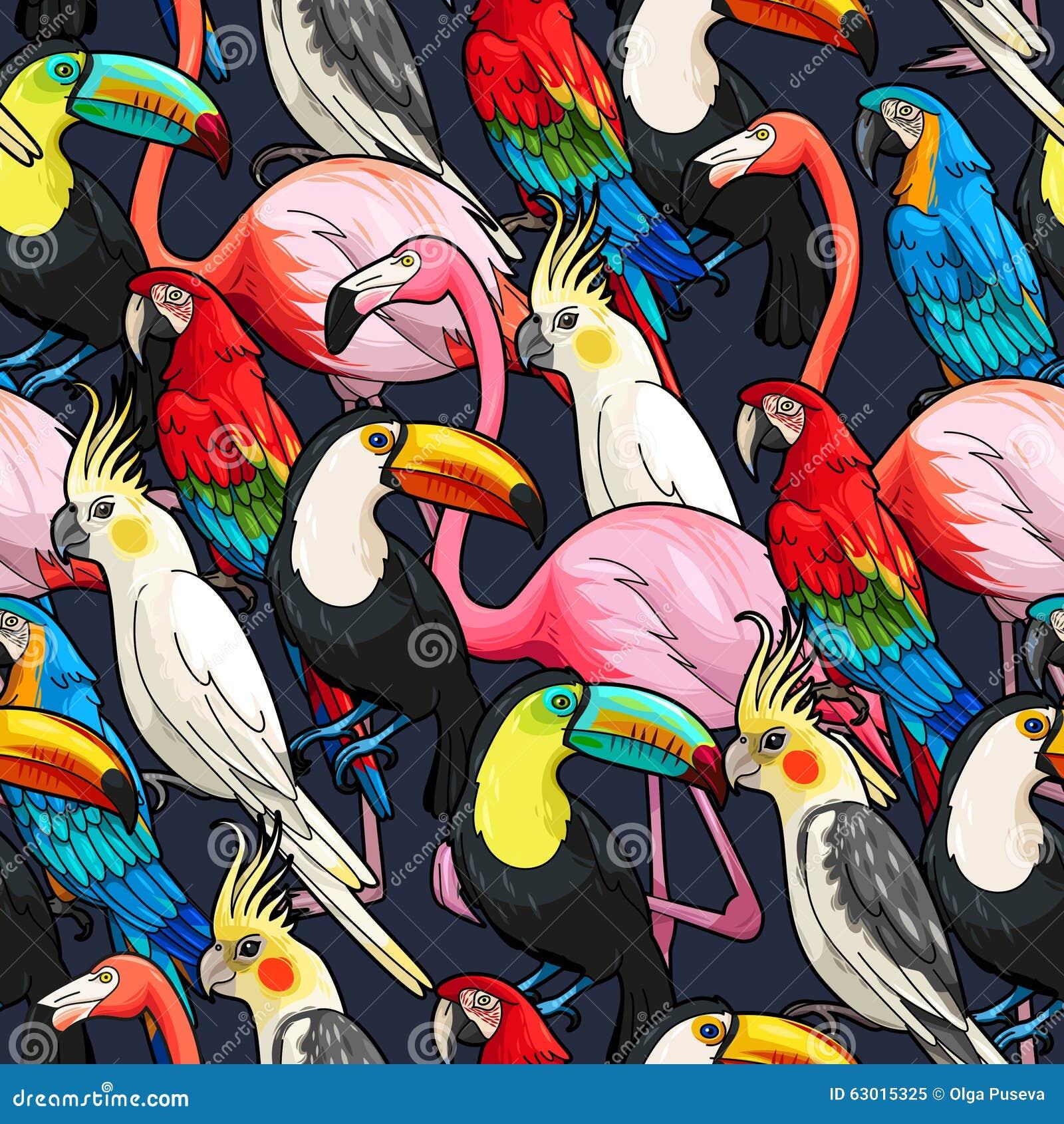 Sömlösa exotiska fåglar