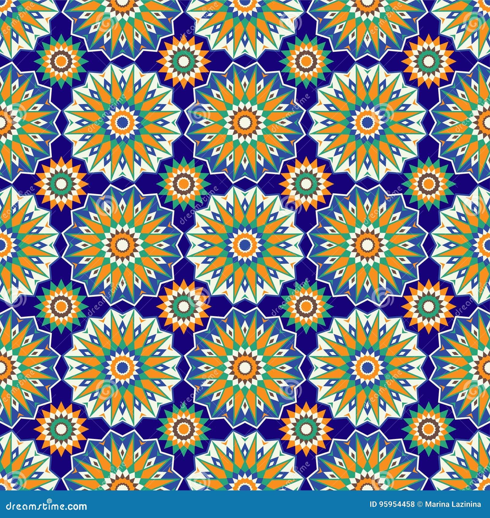 Sömlösa modeller för marockansk mosaik Retro motiv