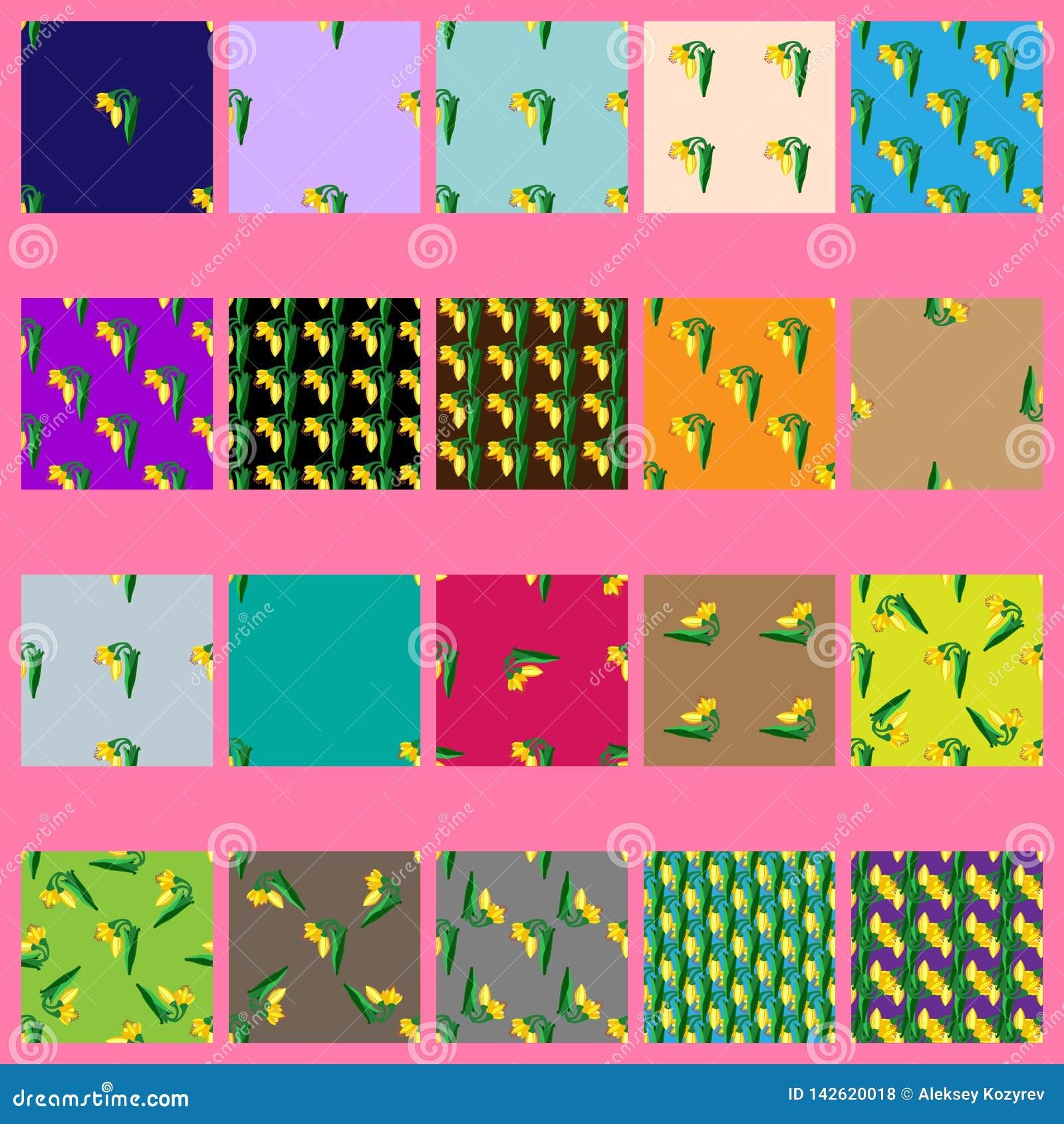 Sömlösa modeller för vektor med gula blommor