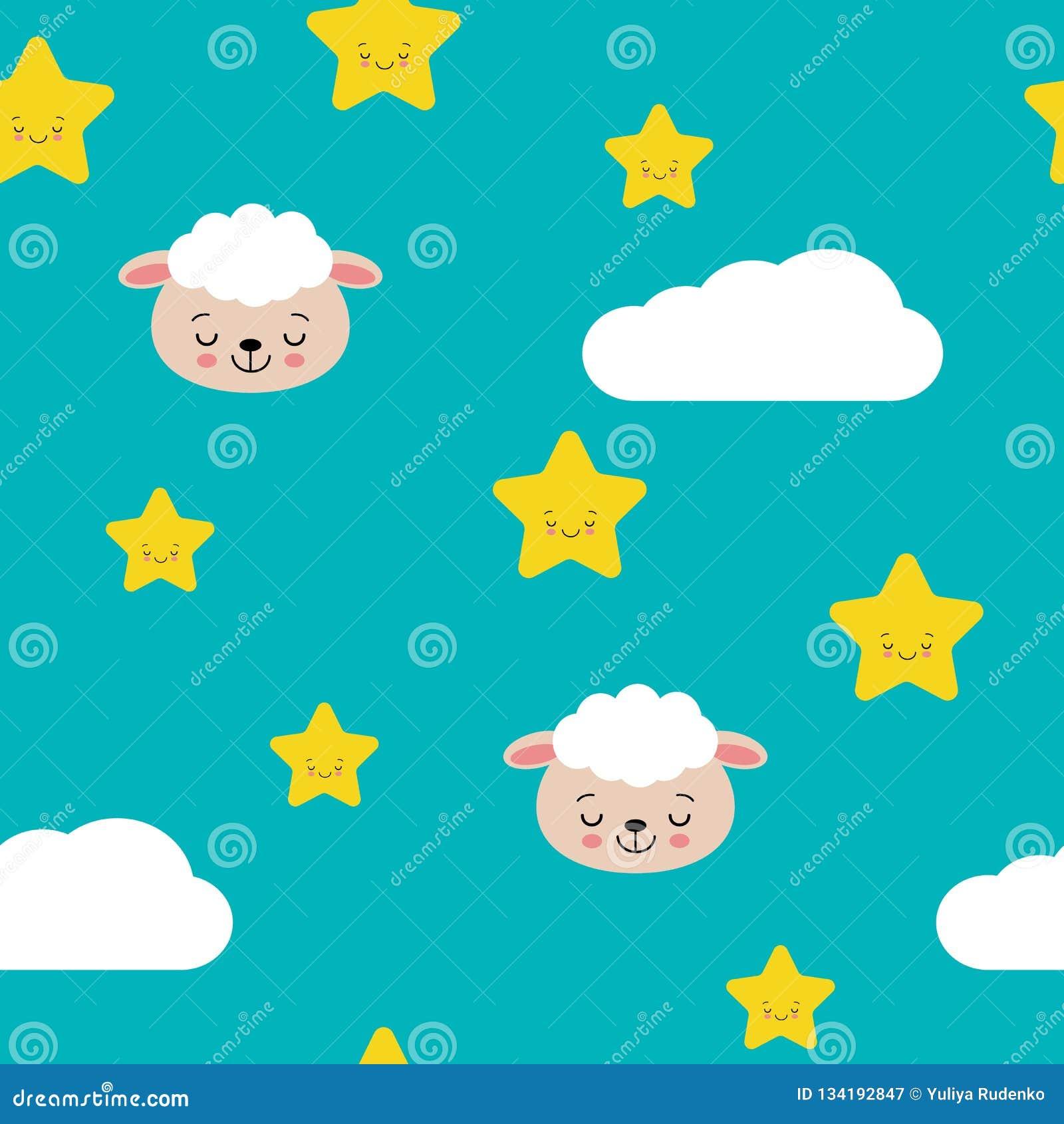 Sömlösa pastellfärgade gulliga får med illustrationen för moln- och stjärnamodellvektor