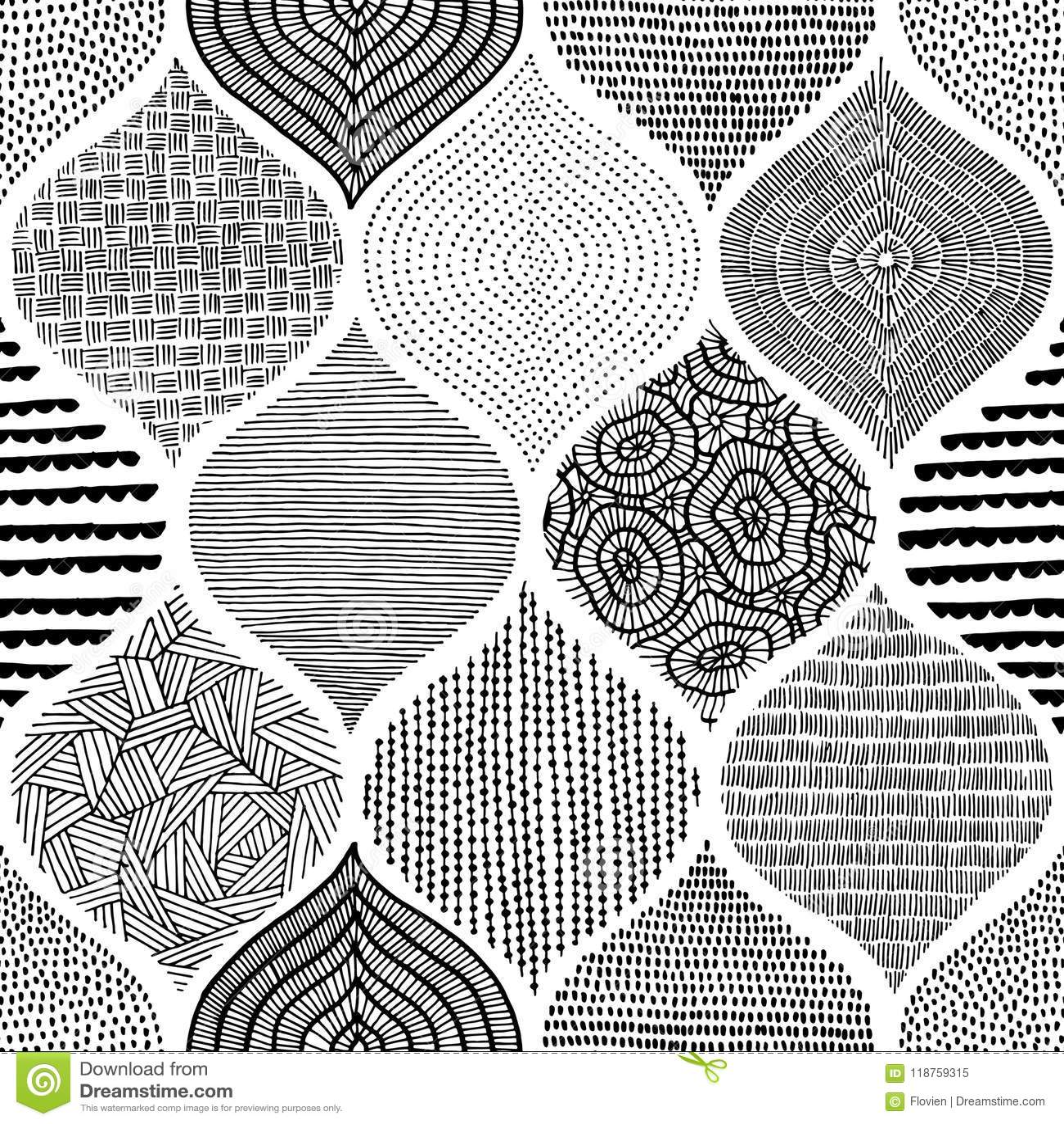 Sömlöst bohemiskt tryck Prydnad i patchworkstil handgjort
