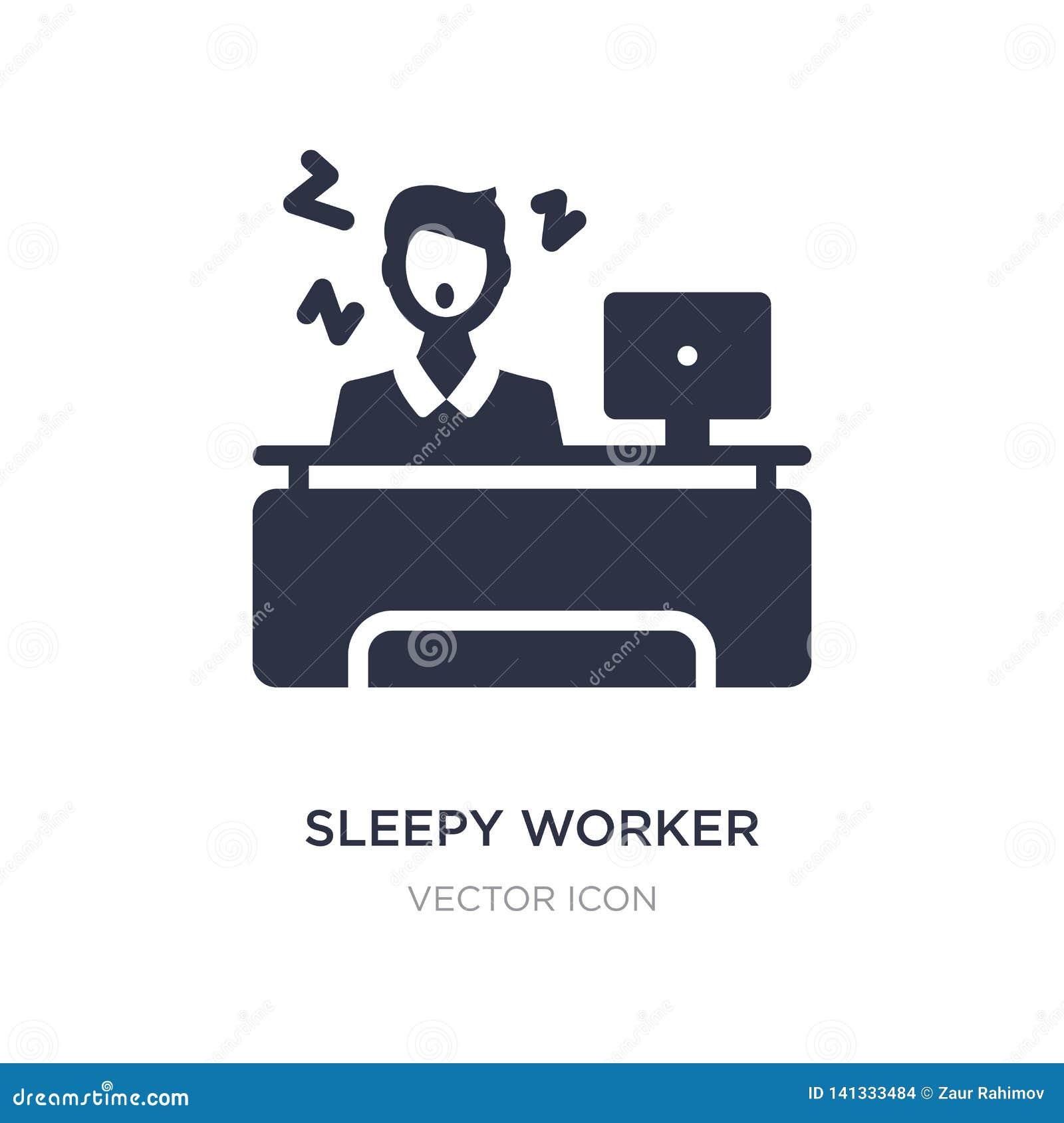 Sömnig arbetare på arbetssymbolen på vit bakgrund Enkel beståndsdelillustration från affärsidé