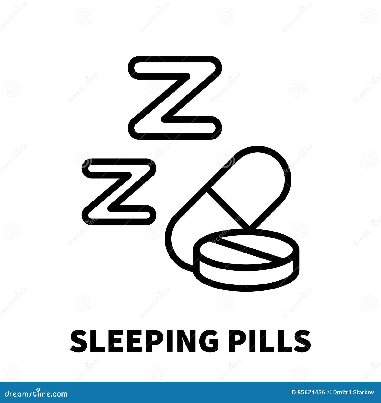 Sömntablettsymbol eller logo i den moderna linjen stil