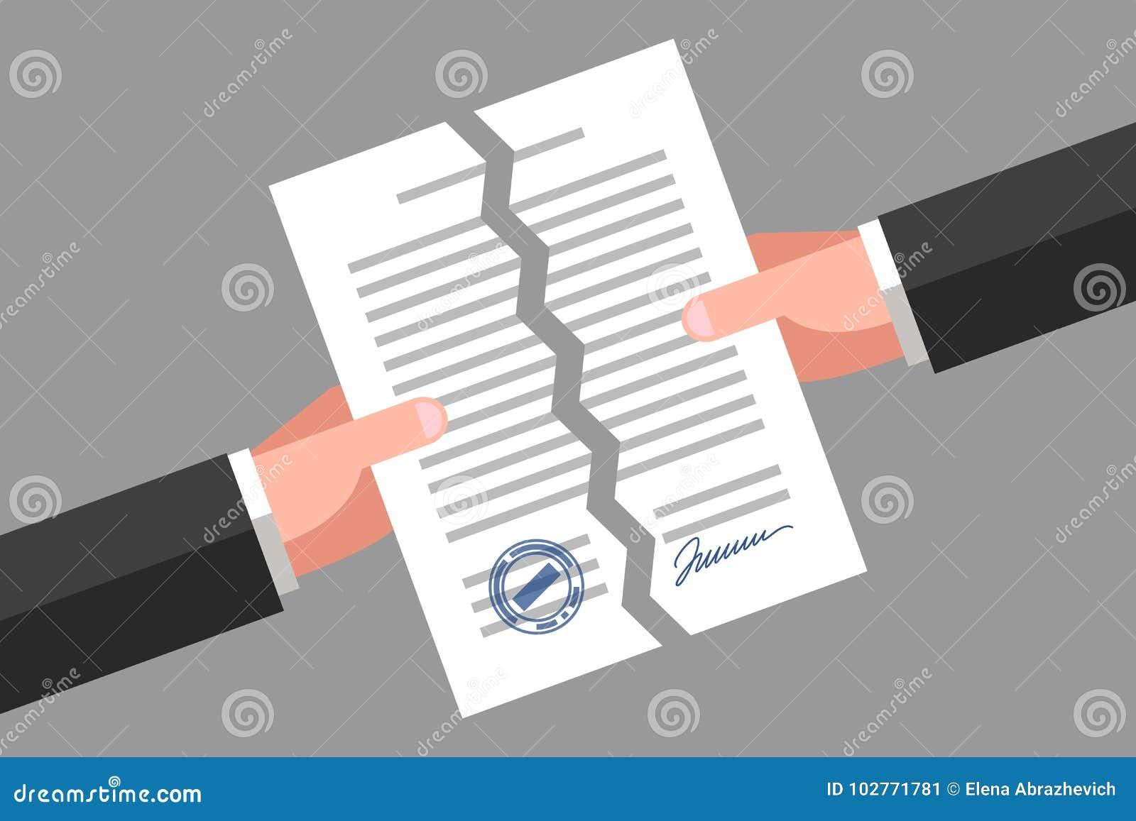 Sönderrivet dokument Annullering av avtalet eller överenskommelse
