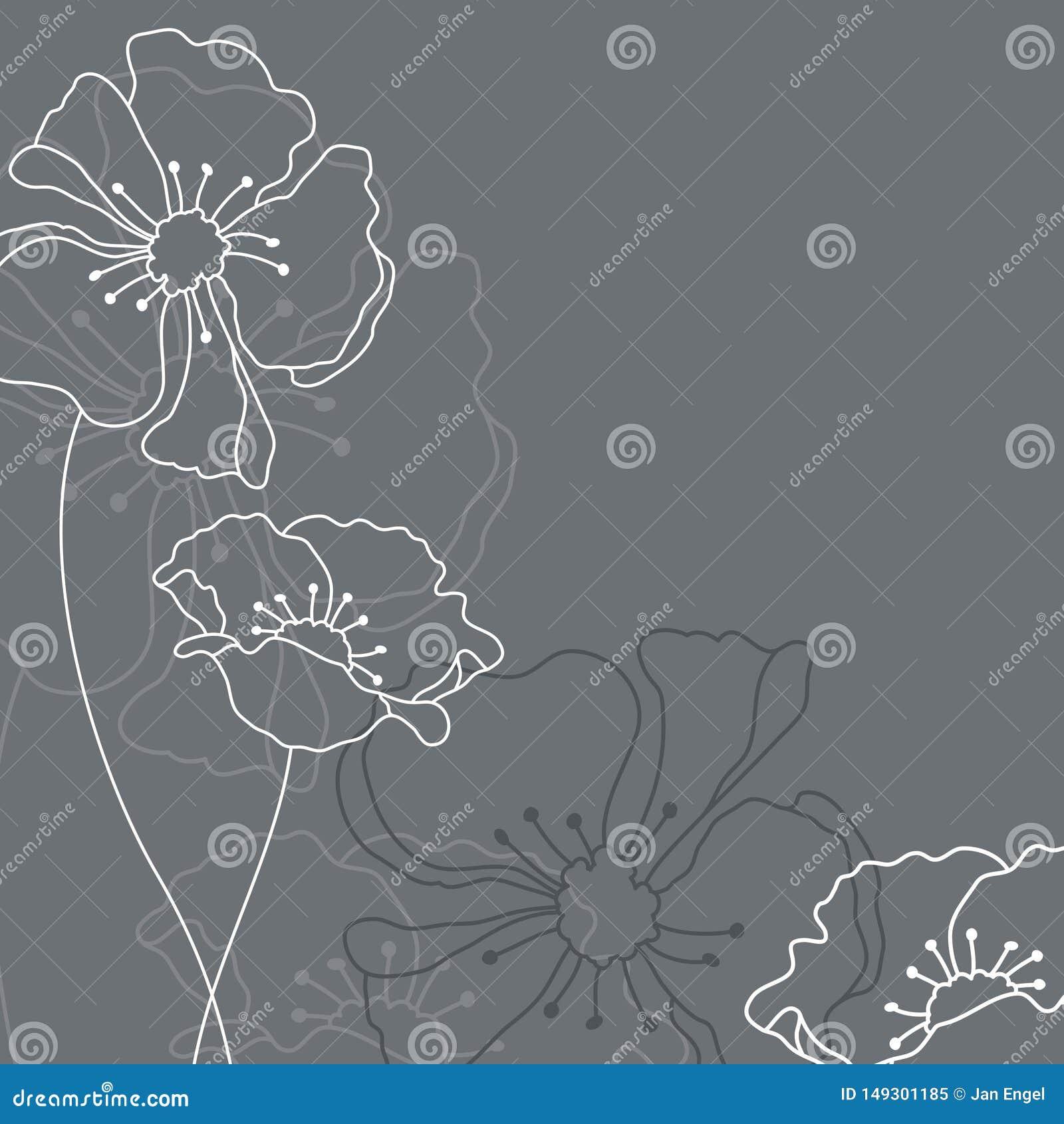Sörja kortet med Grey And White Flowers