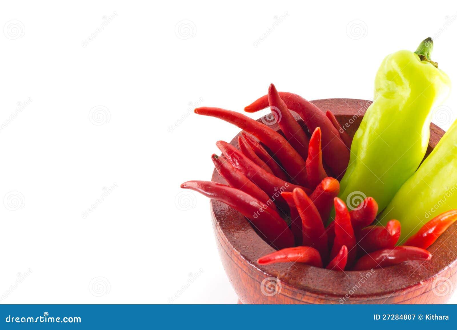 Söt grön chili och glödhet chili