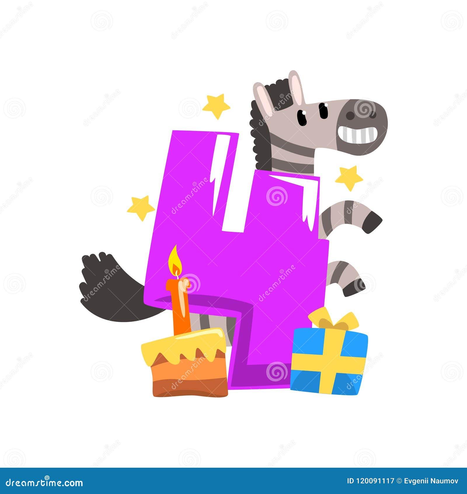 Söt sebra och nummer fyra, lycklig födelsedag, årsdagnummer med den gulliga djura teckenvektorillustrationen på a