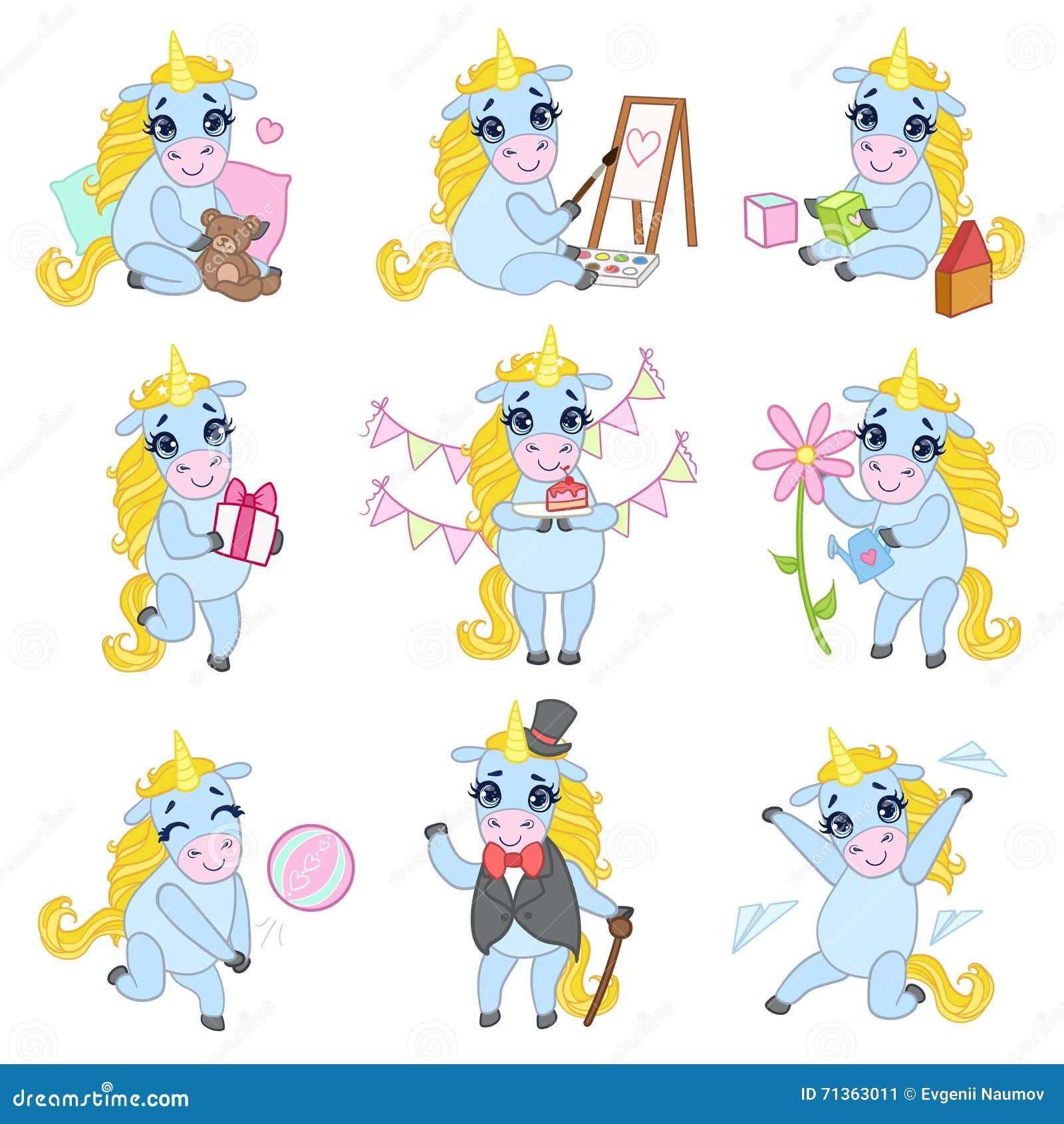 Söta Unicorn Cartoon Set