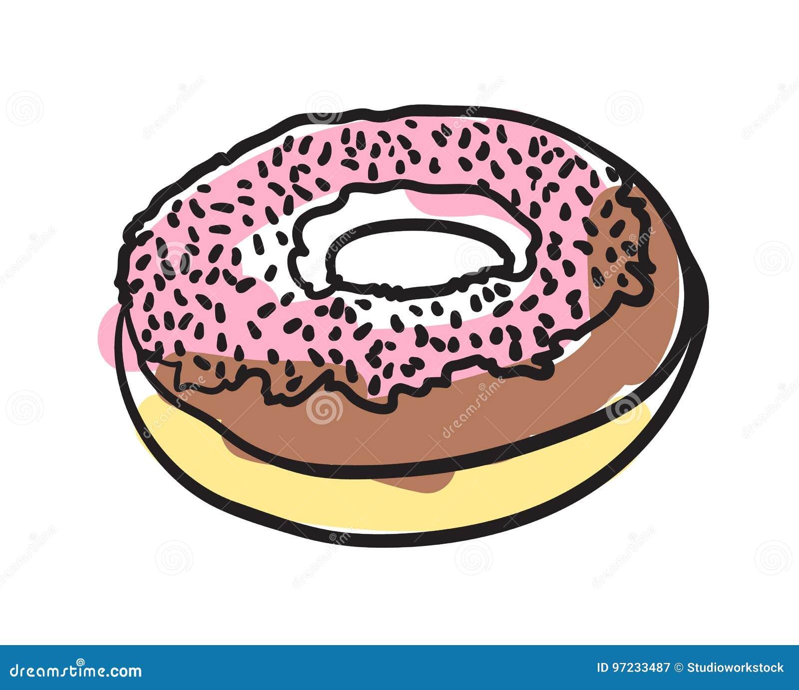 Süße Gezeichnete Ikone Des Donuts Hand Vektor Abbildung