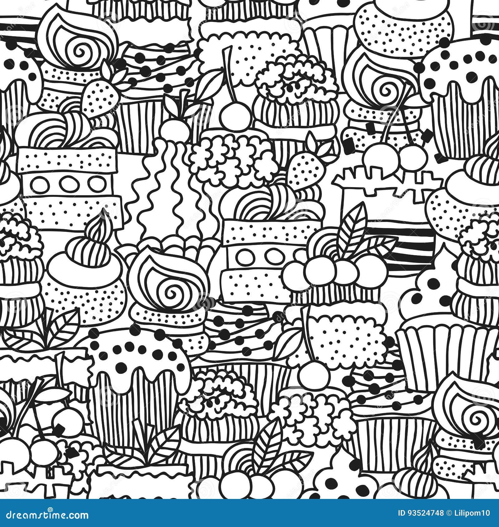 Süße Kuchen, Kleine Kuchen Nahtloses Schwarzweiss-Muster Mit ...