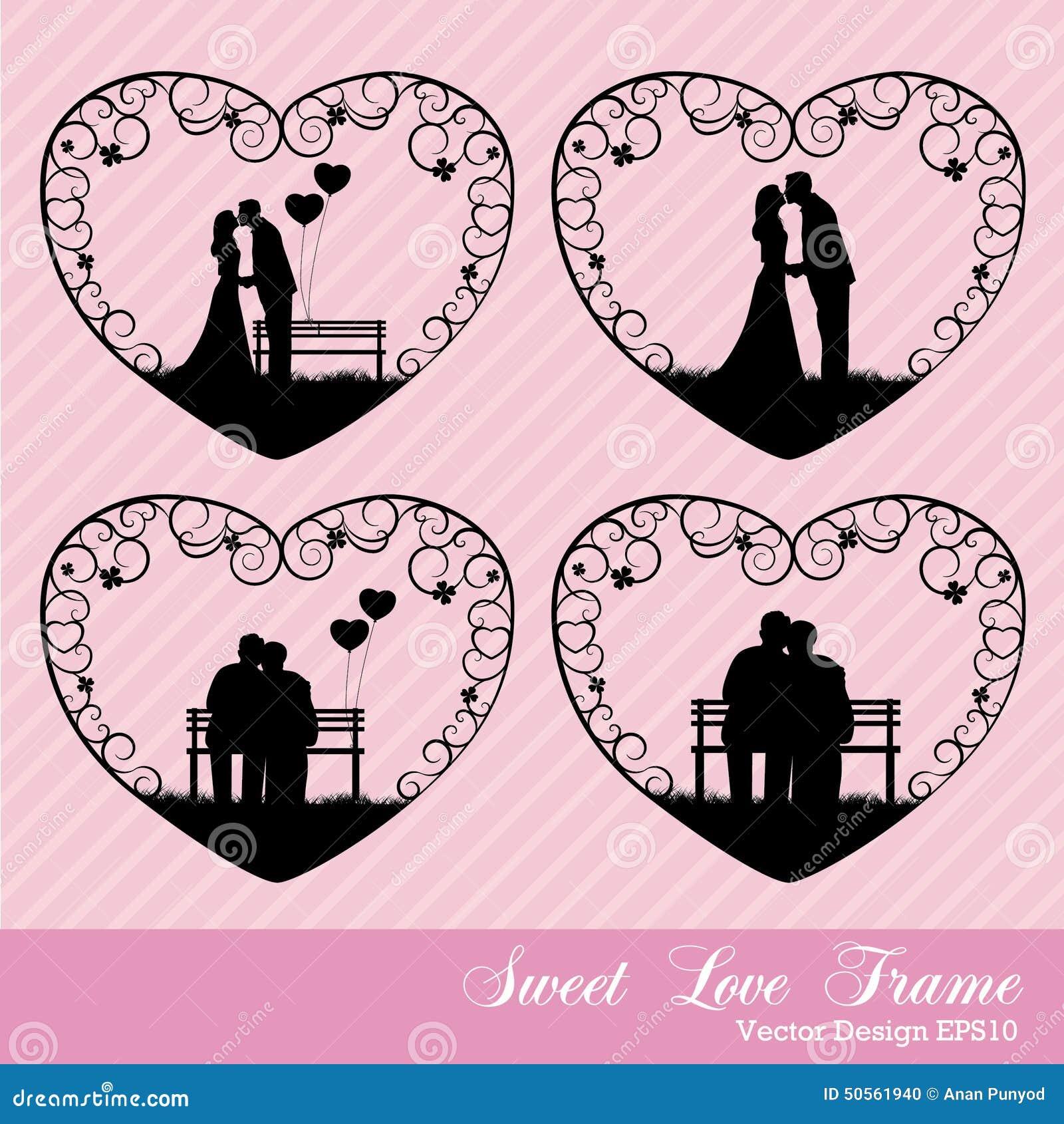 Süße Liebe im Herzrahmen vektor abbildung. Illustration von honig ...