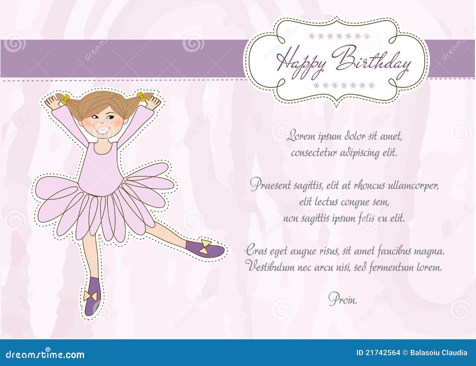 Süße Mädchen-Geburtstag-Gruß-Karte Vektor Abbildung - Illustration ...