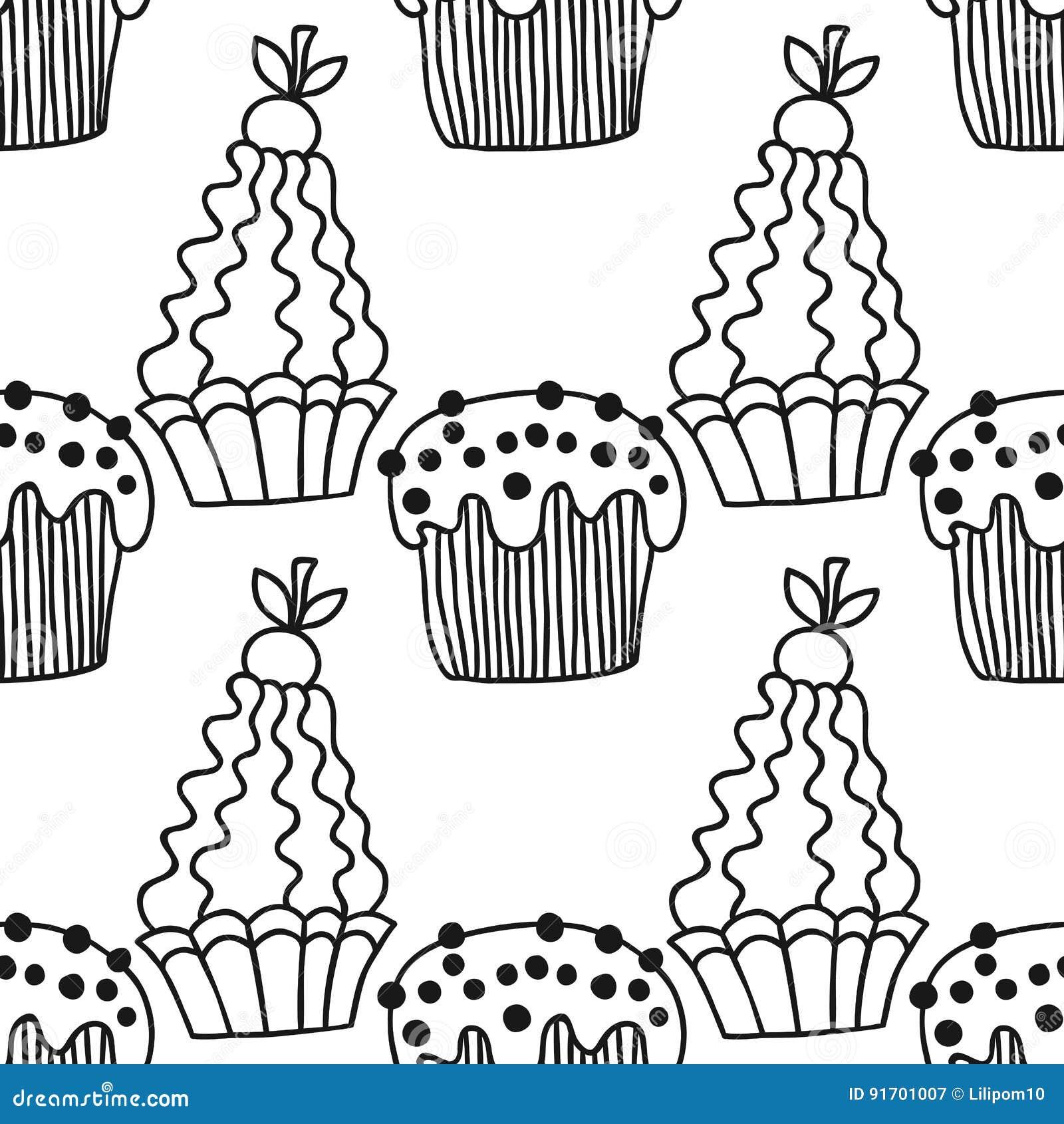 Süße Nachtischabbildung Nahtloses Schwarzweiss-Muster Mit Kuchen Für ...