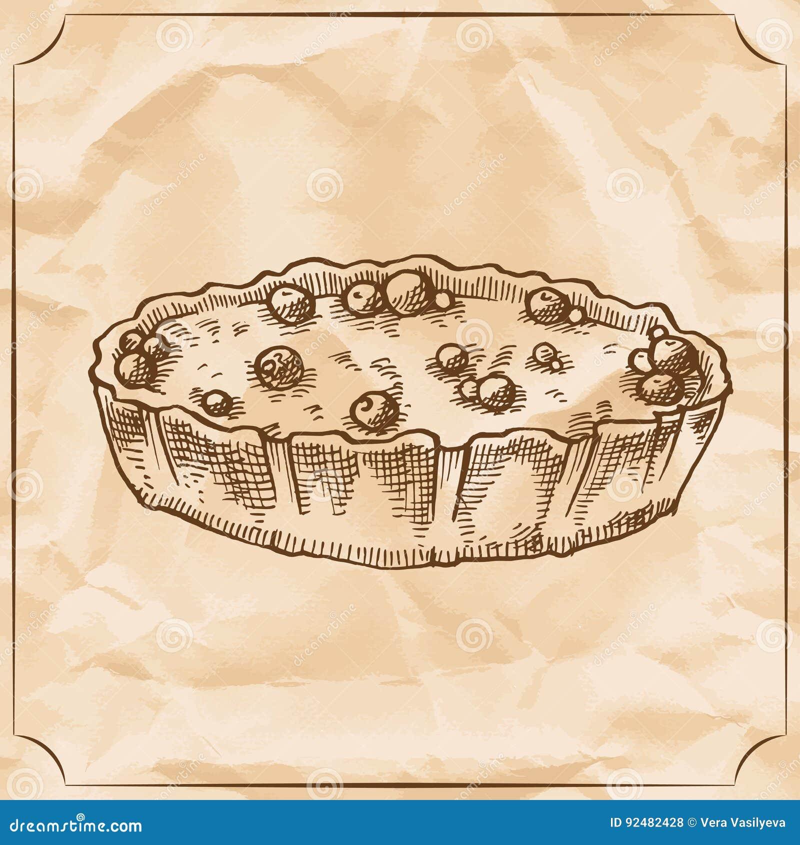 Süße Retro Torte Mit Beeren Festlichkeit Für Den Geburtstag