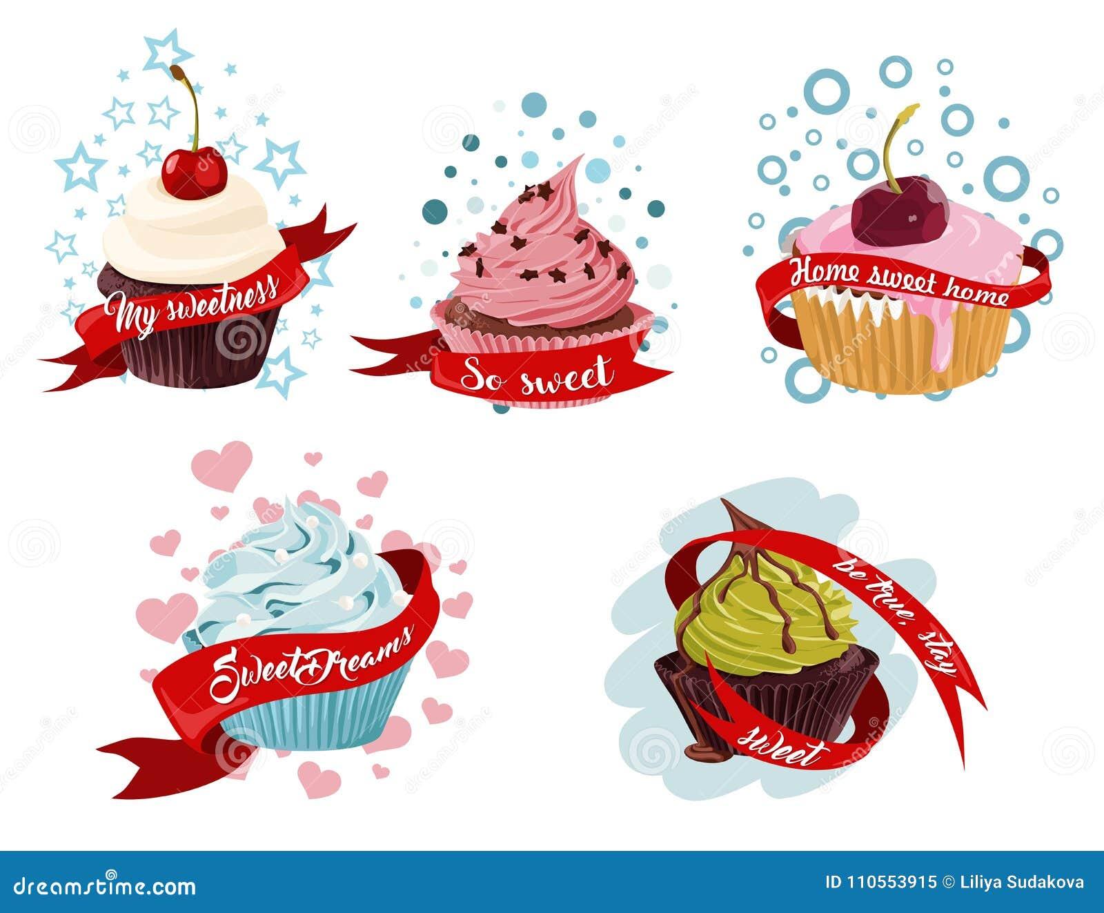 Süßer Kleiner Kuchen Clipart Stock Abbildung Illustration Von