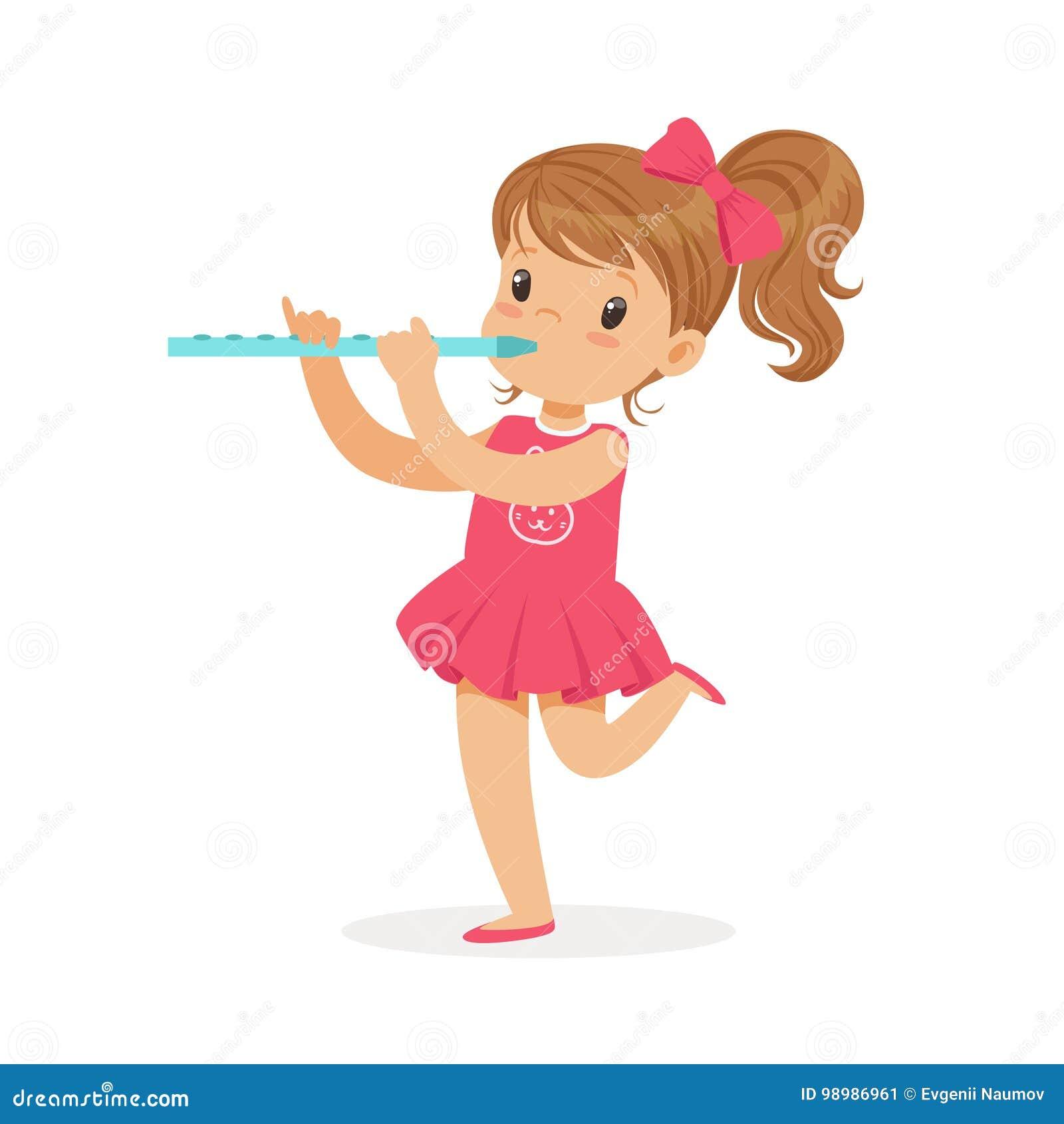 Süßes kleines Mädchen, das Flöte, jungen Musiker mit Musikinstrument des Spielzeugs, Musikunterricht für Kinderkarikaturvektor sp