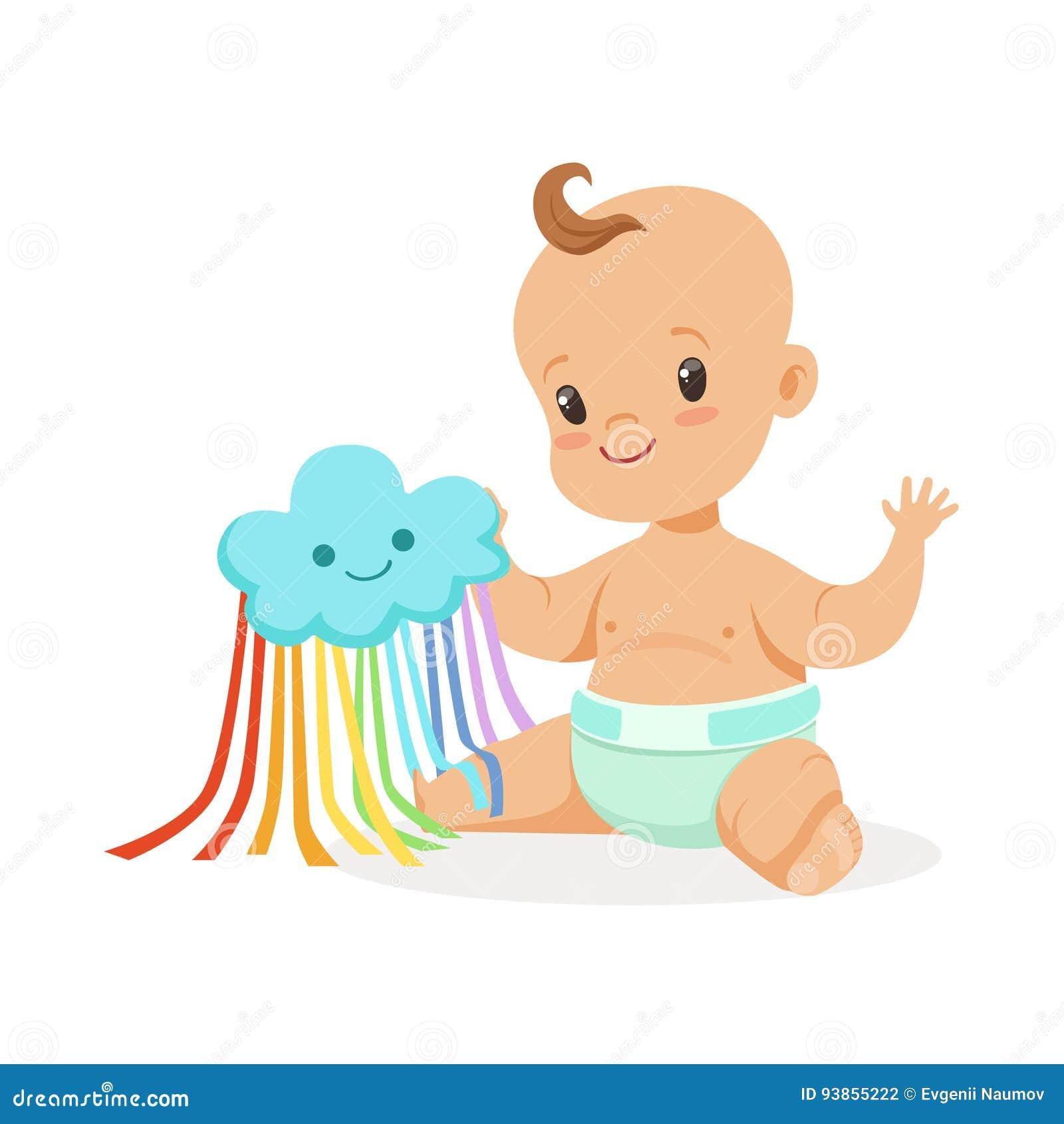 Süßes Lächelndes Baby In Einer Windel Die Mit Spielzeugwolke Bunte