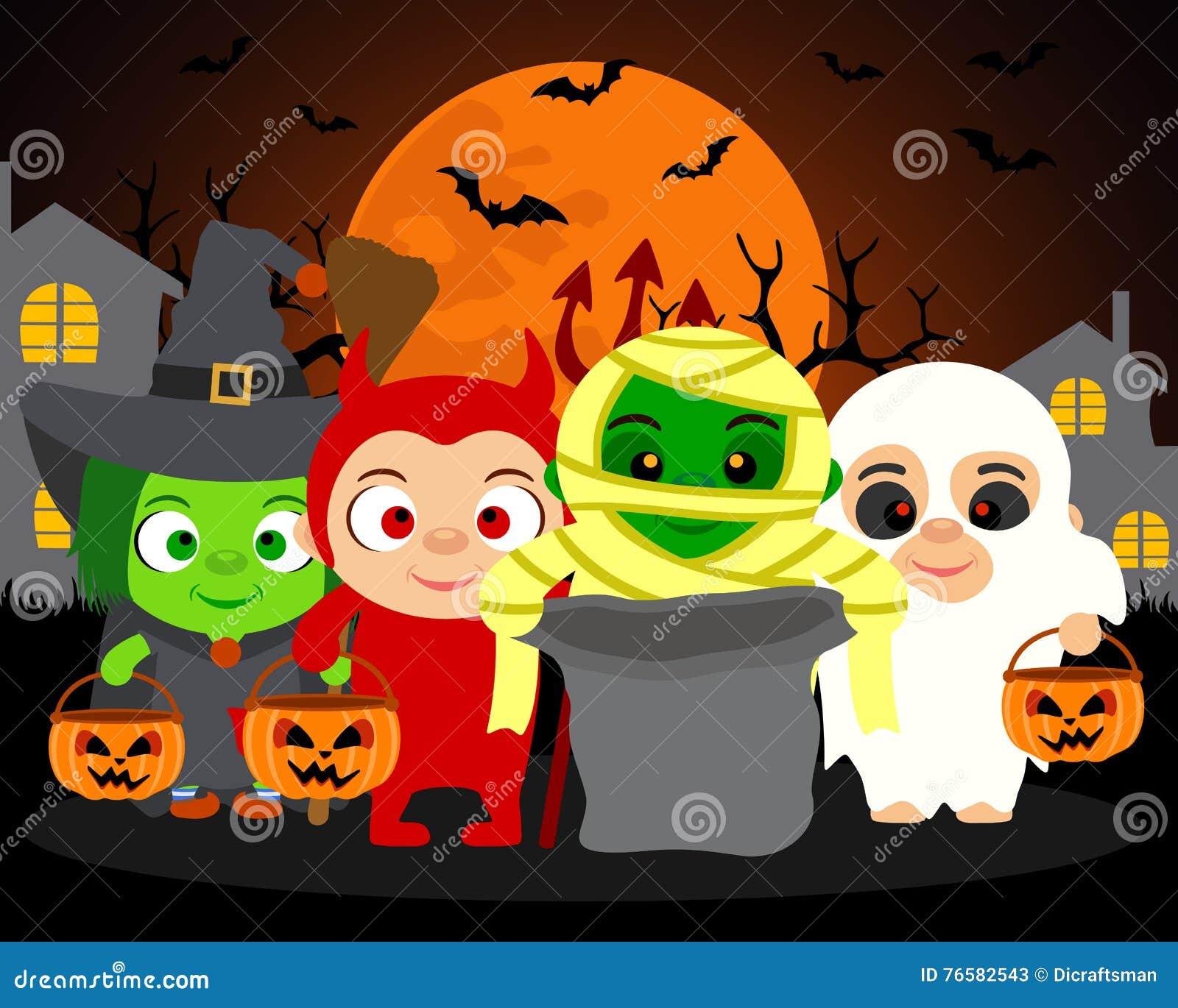 Süßes Sonst Gibt\'s Saures Vektor Halloween-Hintergrund Mit Kindern ...