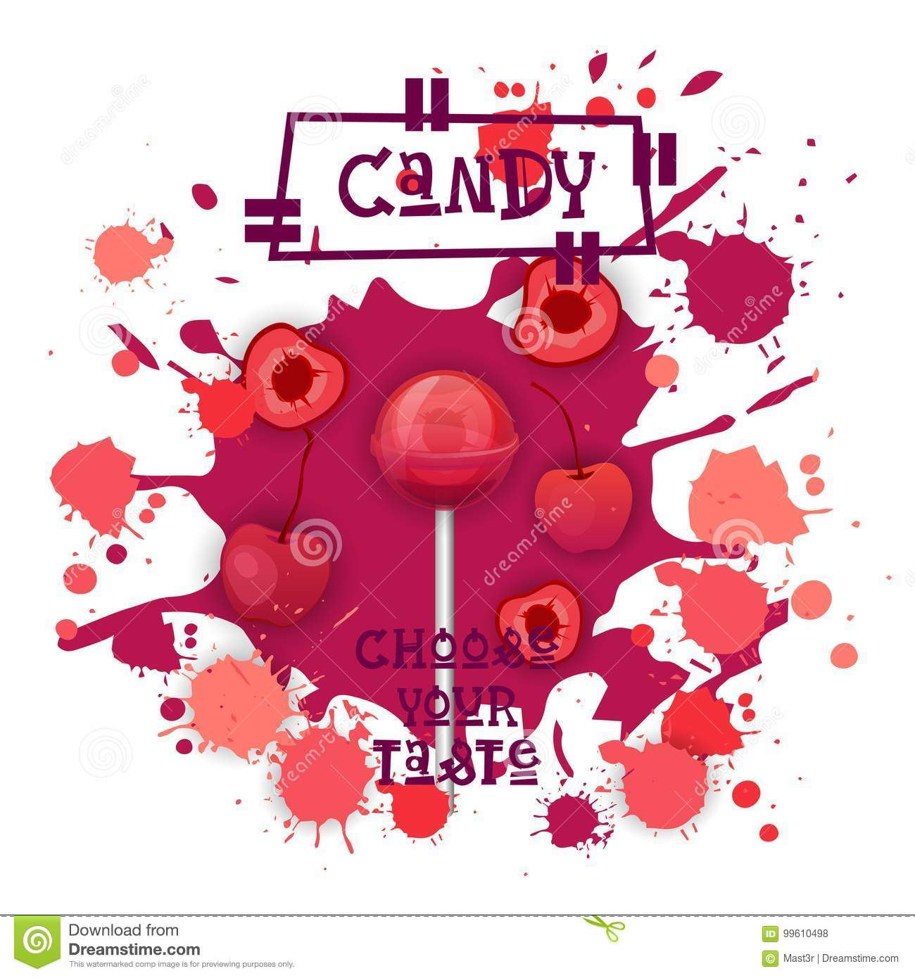 Süßigkeit Cherry Lolly Dessert Colorful Icon Choose Ihr Geschmack-Café-Plakat