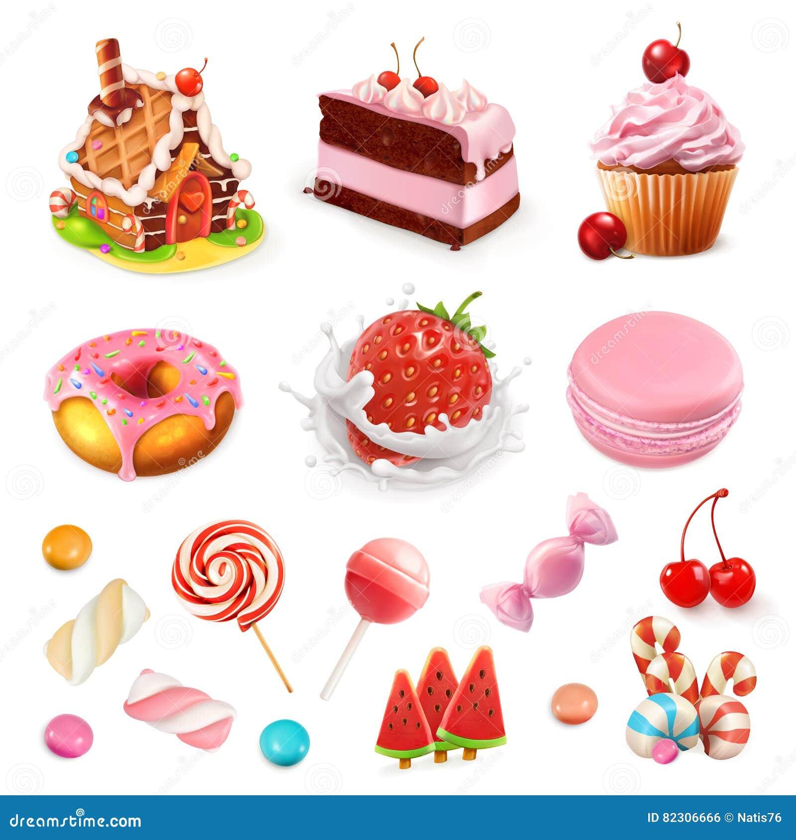 Süßigkeiten und Nachtische Erdbeere und Milch, Kuchen, kleiner Kuchen, Süßigkeit, Lutscher Drei Farbikonen auf Pappumbauten