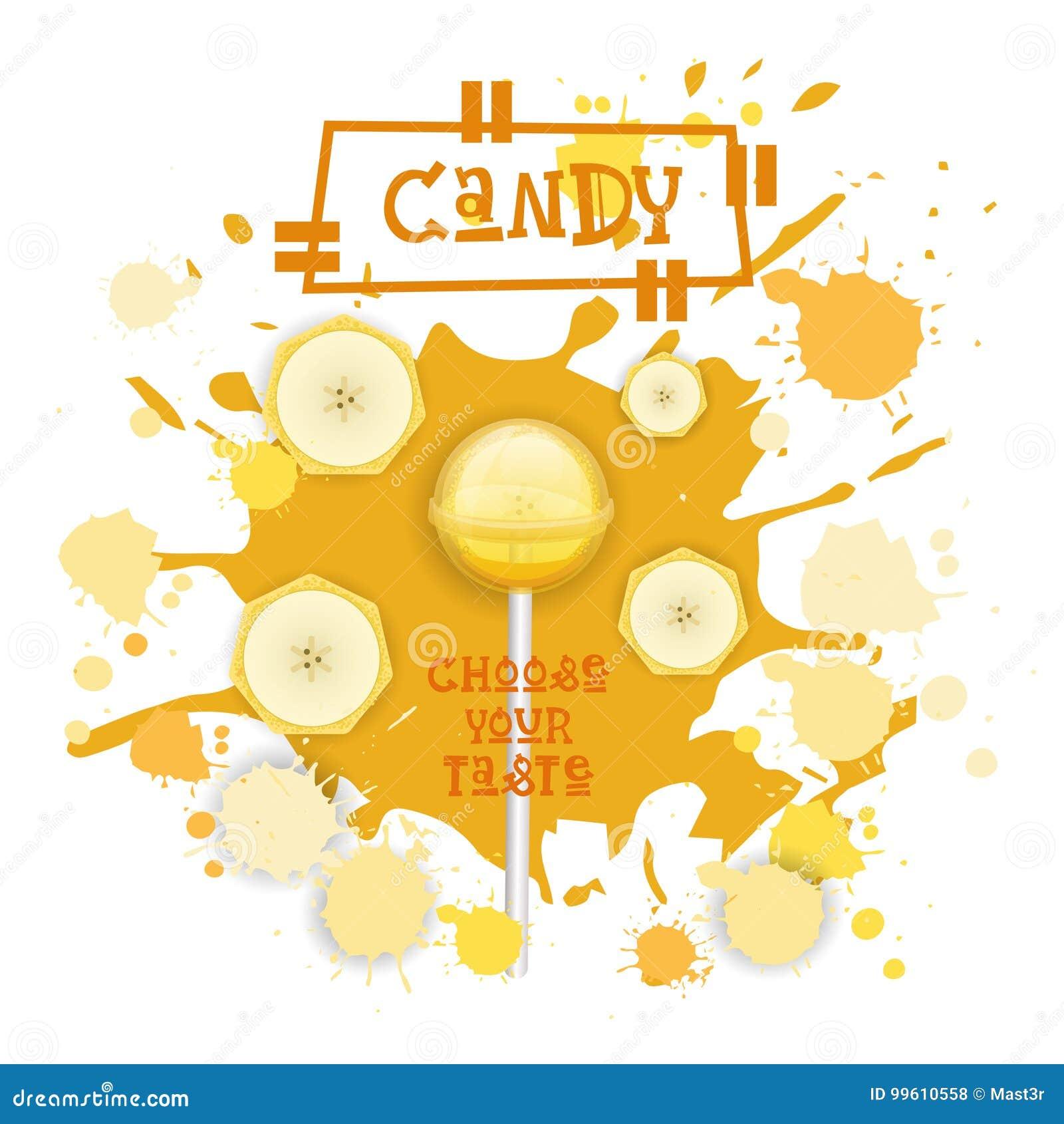 Süßigkeits-Banane Lolly Dessert Colorful Icon Choose Ihr Geschmack-Café-Plakat