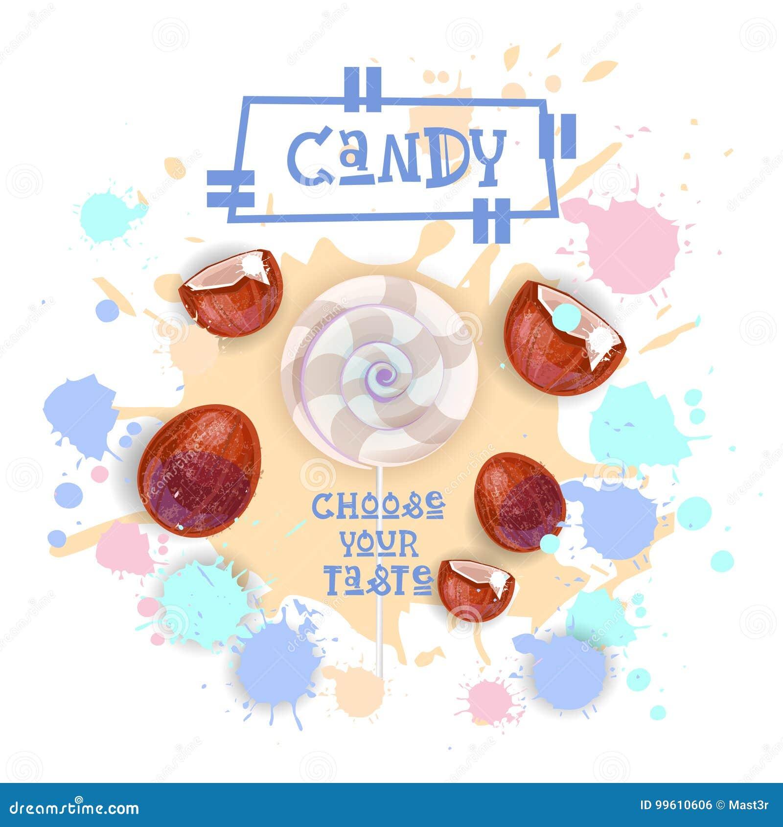Süßigkeits-Kokosnuss Lolly Dessert Colorful Icon Choose Ihr Geschmack-Café-Plakat