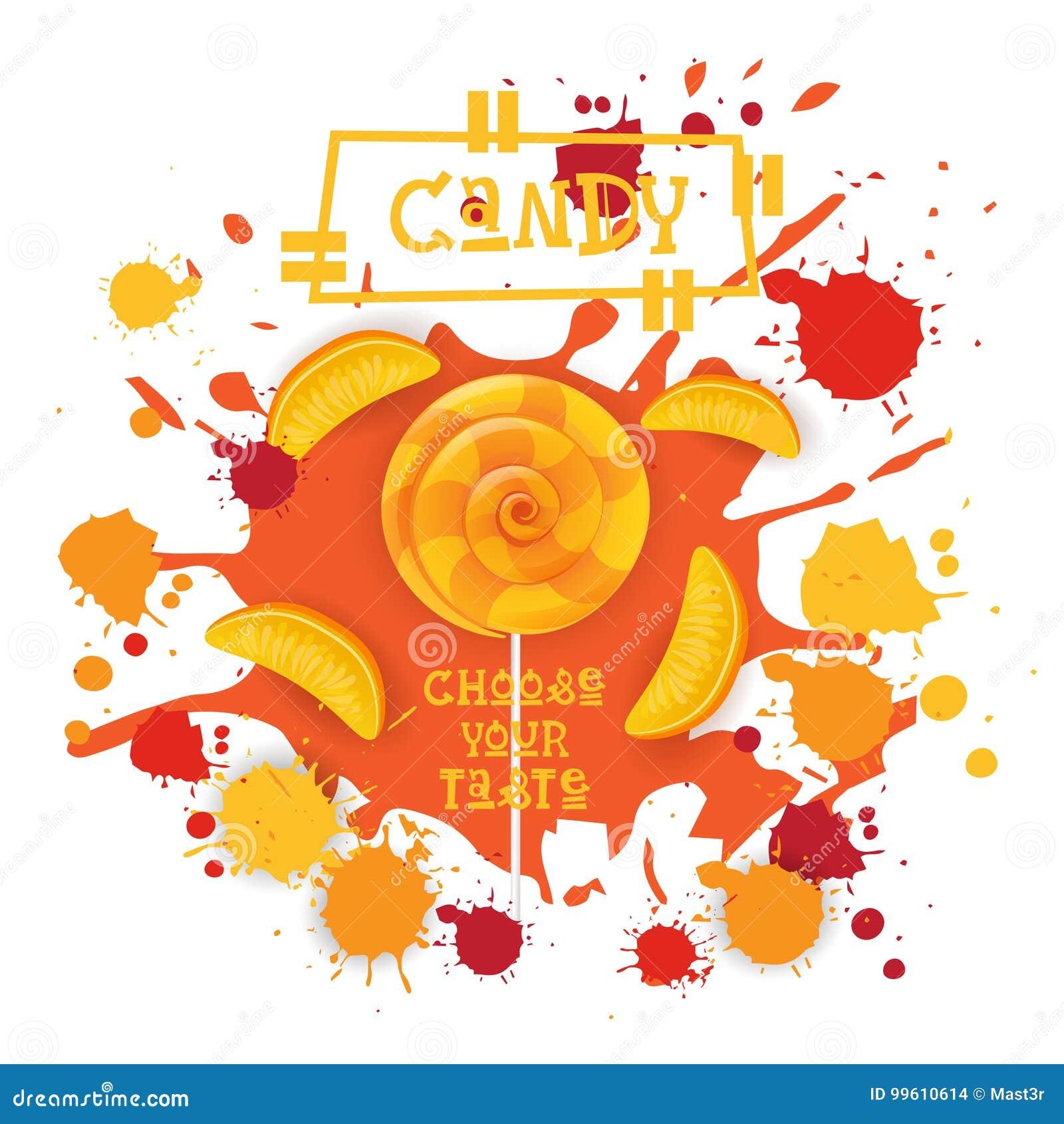 Süßigkeits-Pfirsich Lolly Dessert Colorful Icon Choose Ihr Geschmack-Café-Plakat