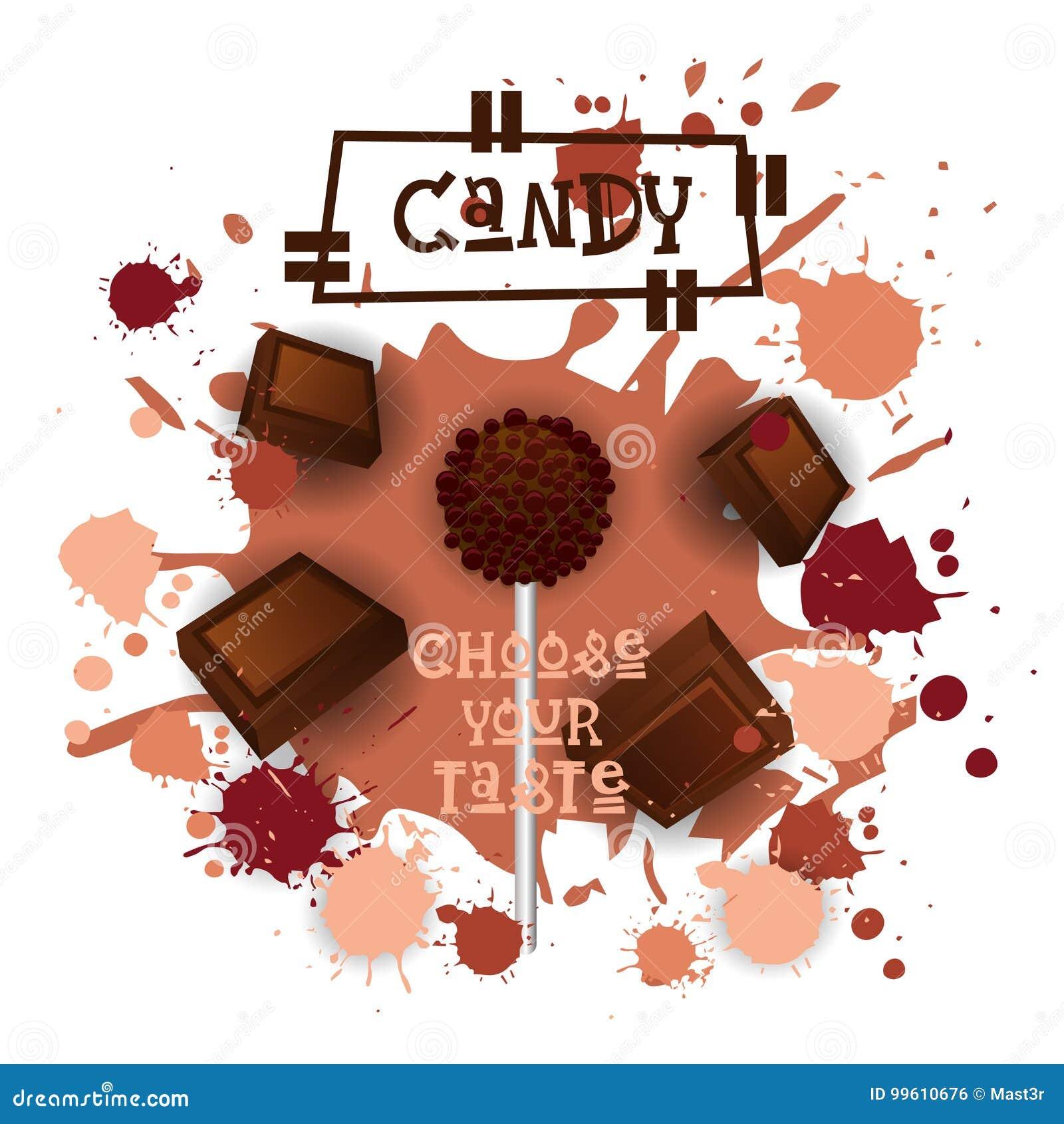 Süßigkeits-Schokolade Lolly Dessert Colorful Icon Choose Ihr Geschmack-Café-Plakat