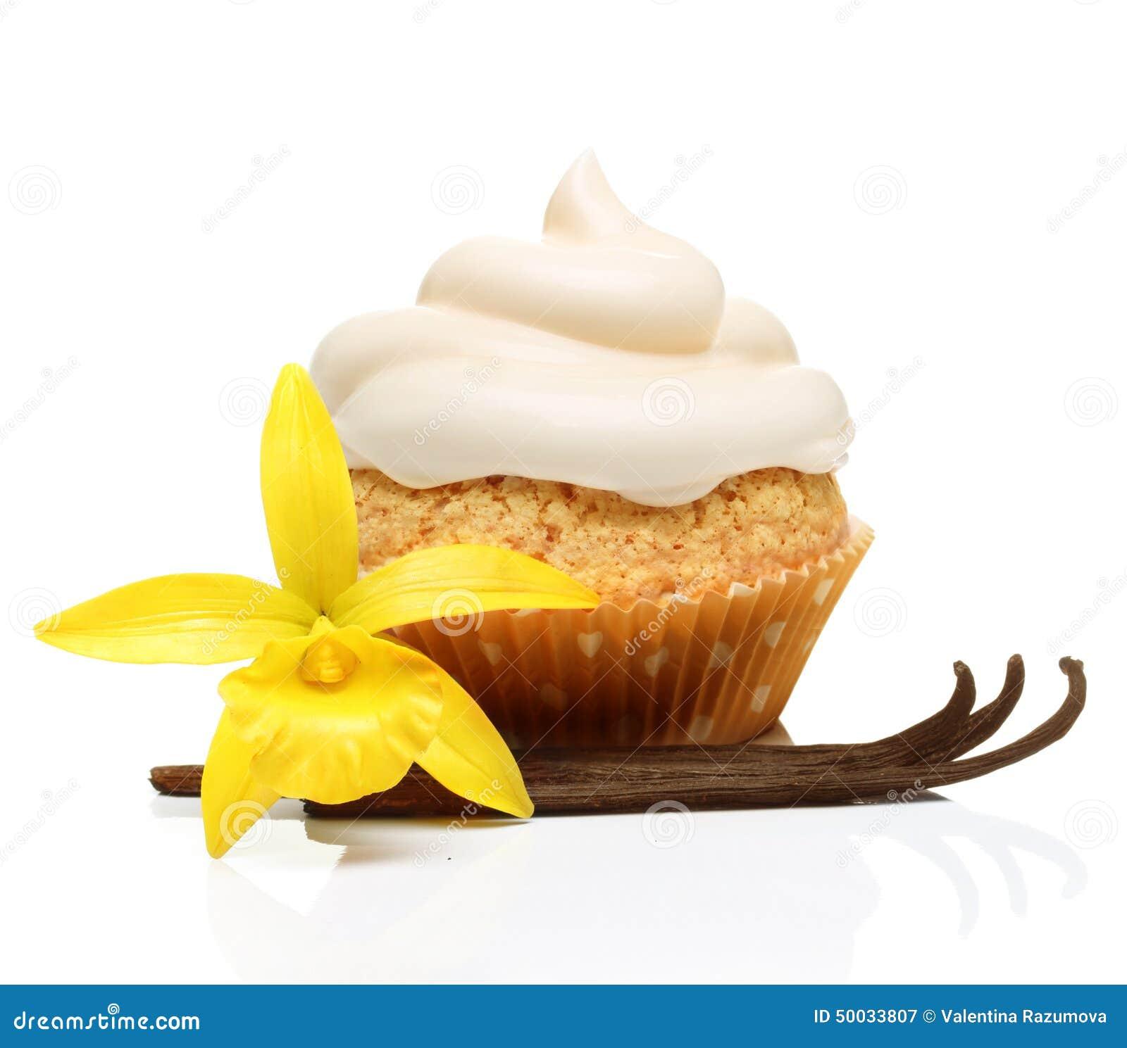 Süßspeise, kleiner Kuchen mit Vanillehülsen