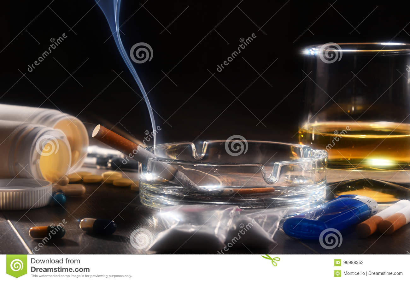Süchtig machende Substanzen, einschließlich Alkohol, Zigaretten und Drogen