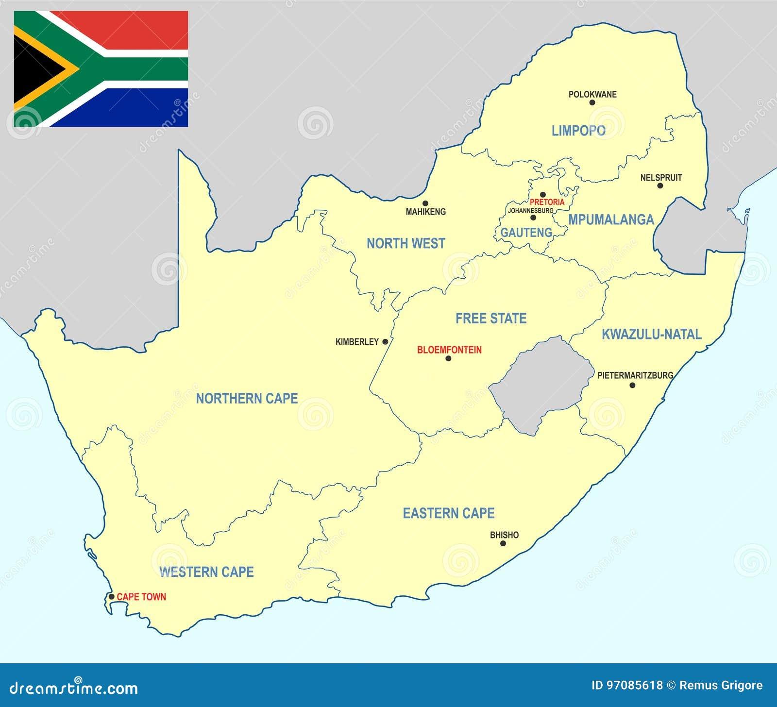 Südafrika Karte.Südafrika Karte Cdrformat Vektor Abbildung Illustration Von