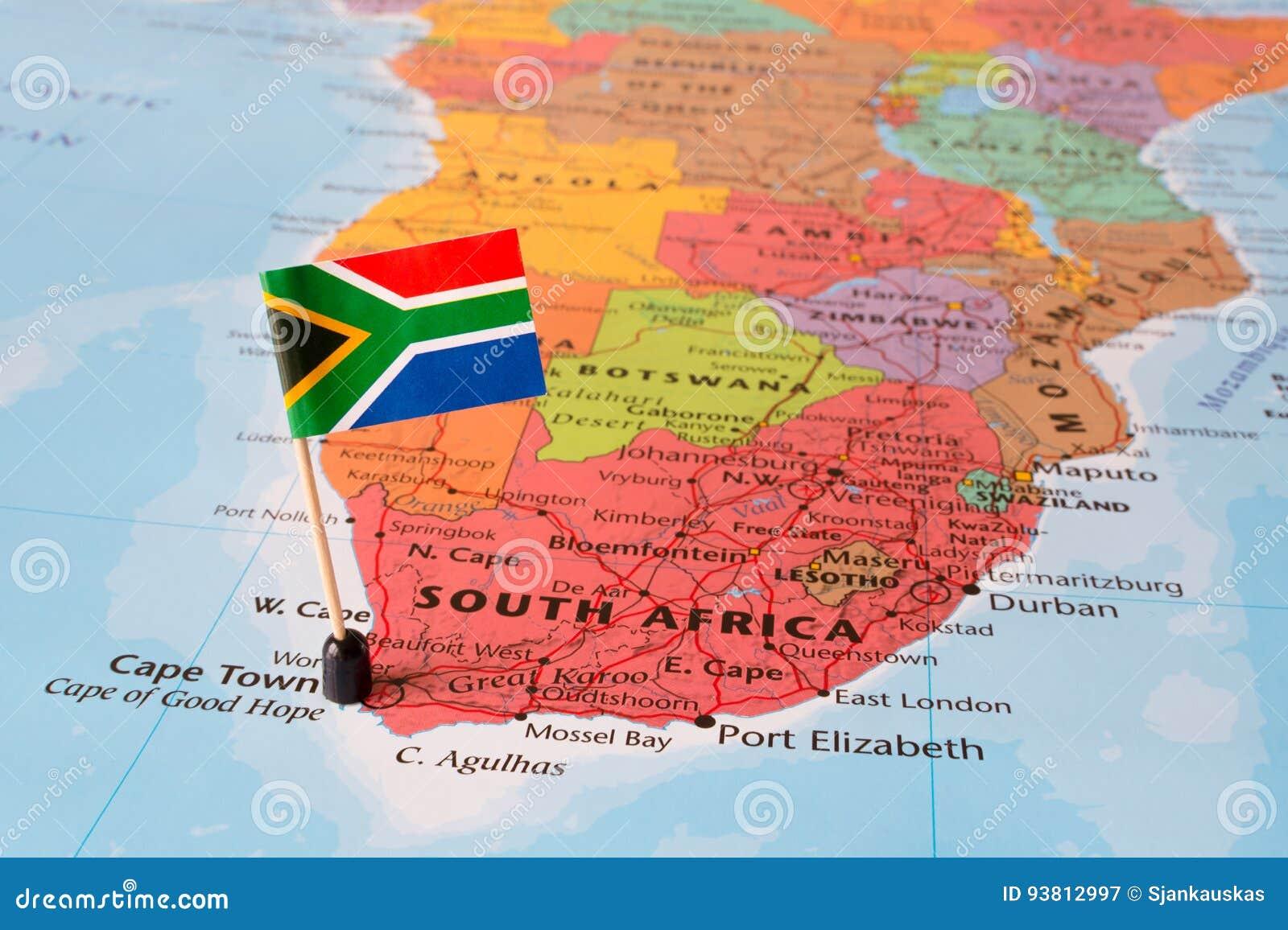 Südafrika Karte.Südafrika Karte Und Flaggenstift Stockbild Bild Von ökonomisch
