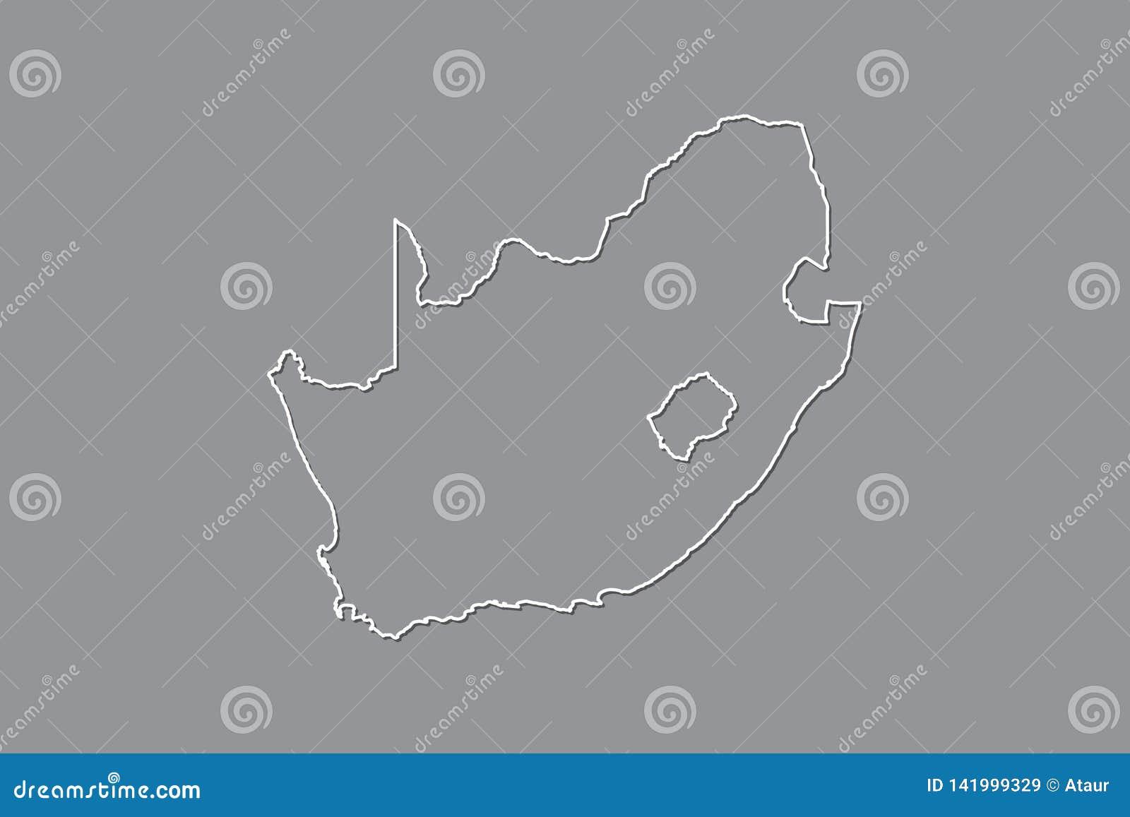 Südafrika-Vektorkarte mit einzelner Grenze Grenze unter Verwendung der weißen Farbe auf dunkler Hintergrundillustration